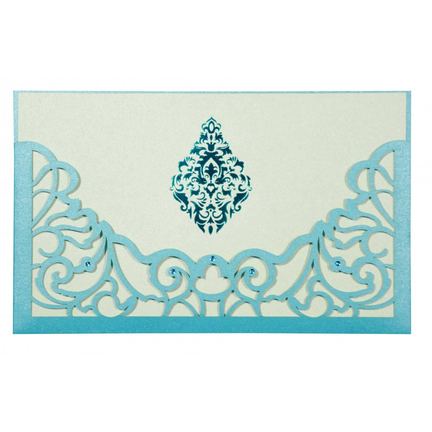 CYAN BLUE SHIMMERY DAMASK THEMED - LASER CUT WEDDING CARD : CI-8262A - IndianWeddingCards