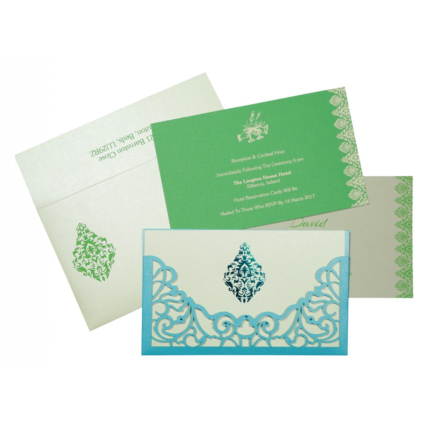 CYAN BLUE SHIMMERY DAMASK THEMED - LASER CUT WEDDING CARD : CS-8262A - IndianWeddingCards