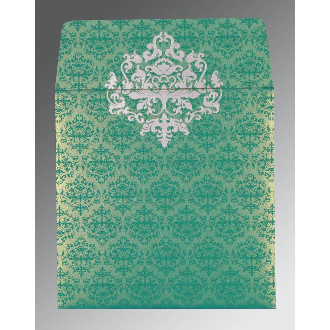 TURQUOISE SHIMMERY DAMASK THEMED - SCREEN PRINTED WEDDING CARD : CI-8254E - IndianWeddingCards