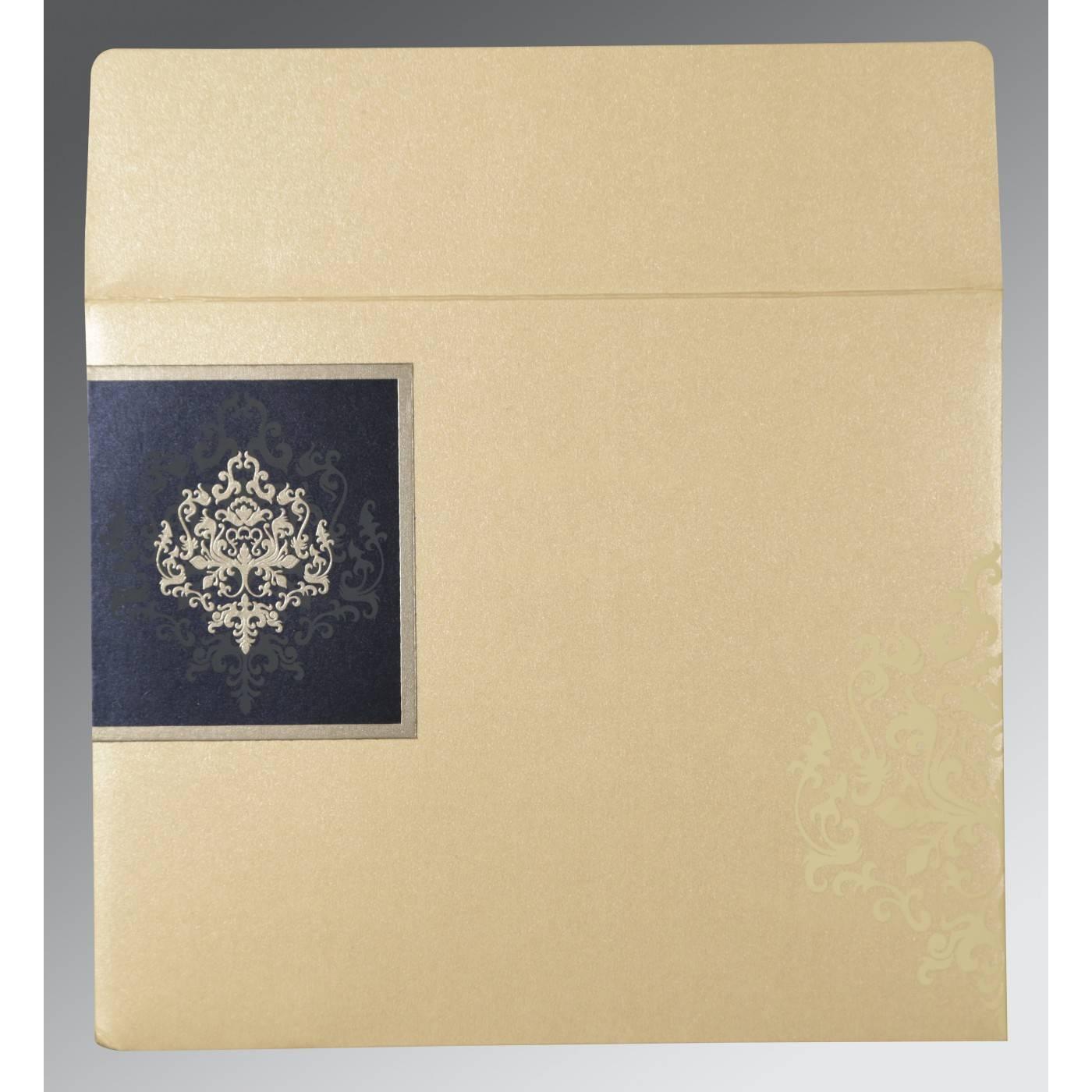IVORY BLUE SHIMMERY DAMASK THEMED - SCREEN PRINTED WEDDING CARD : CIN-8253D - IndianWeddingCards