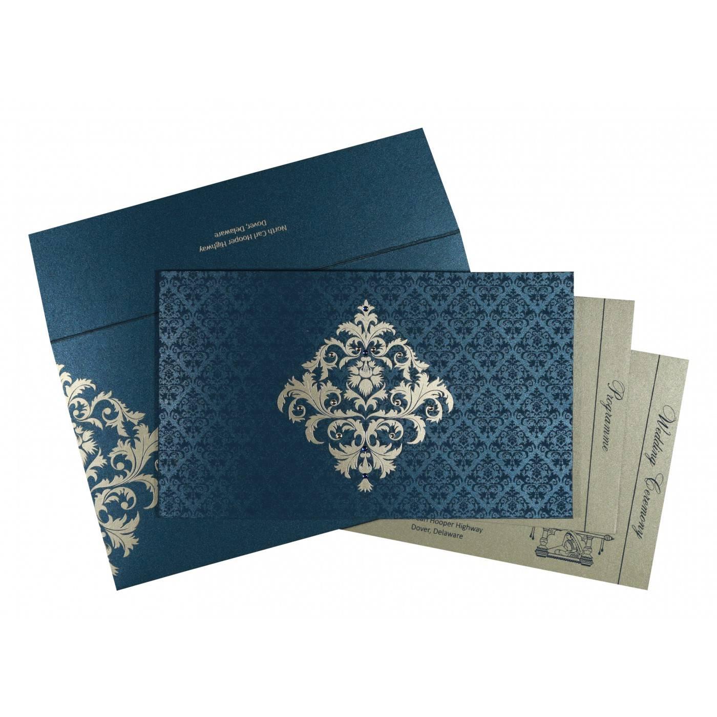 DARK BLUE SHIMMERY DAMASK THEMED - SCREEN PRINTED WEDDING CARD : CRU-8257G - IndianWeddingCards
