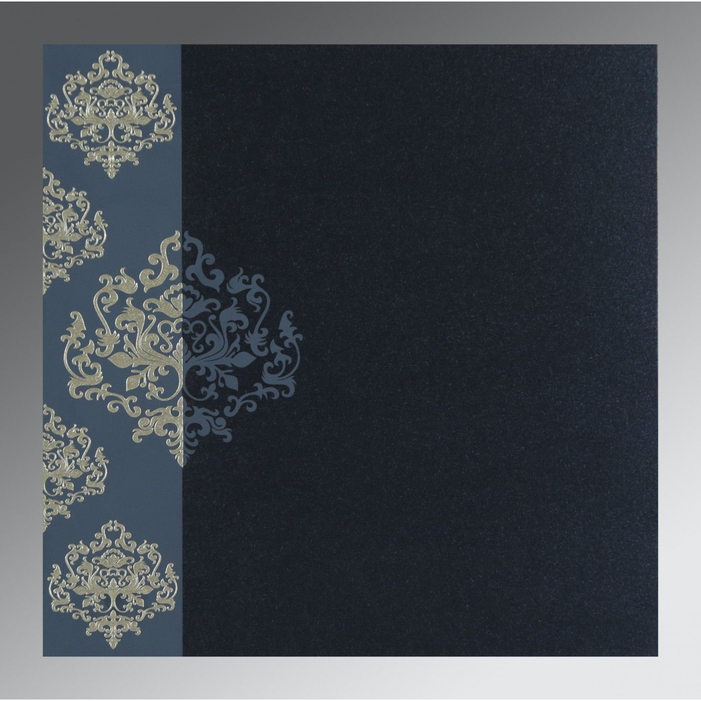 BLUE SHIMMERY DAMASK THEMED - SCREEN PRINTED WEDDING CARD : CS-8254C - IndianWeddingCards