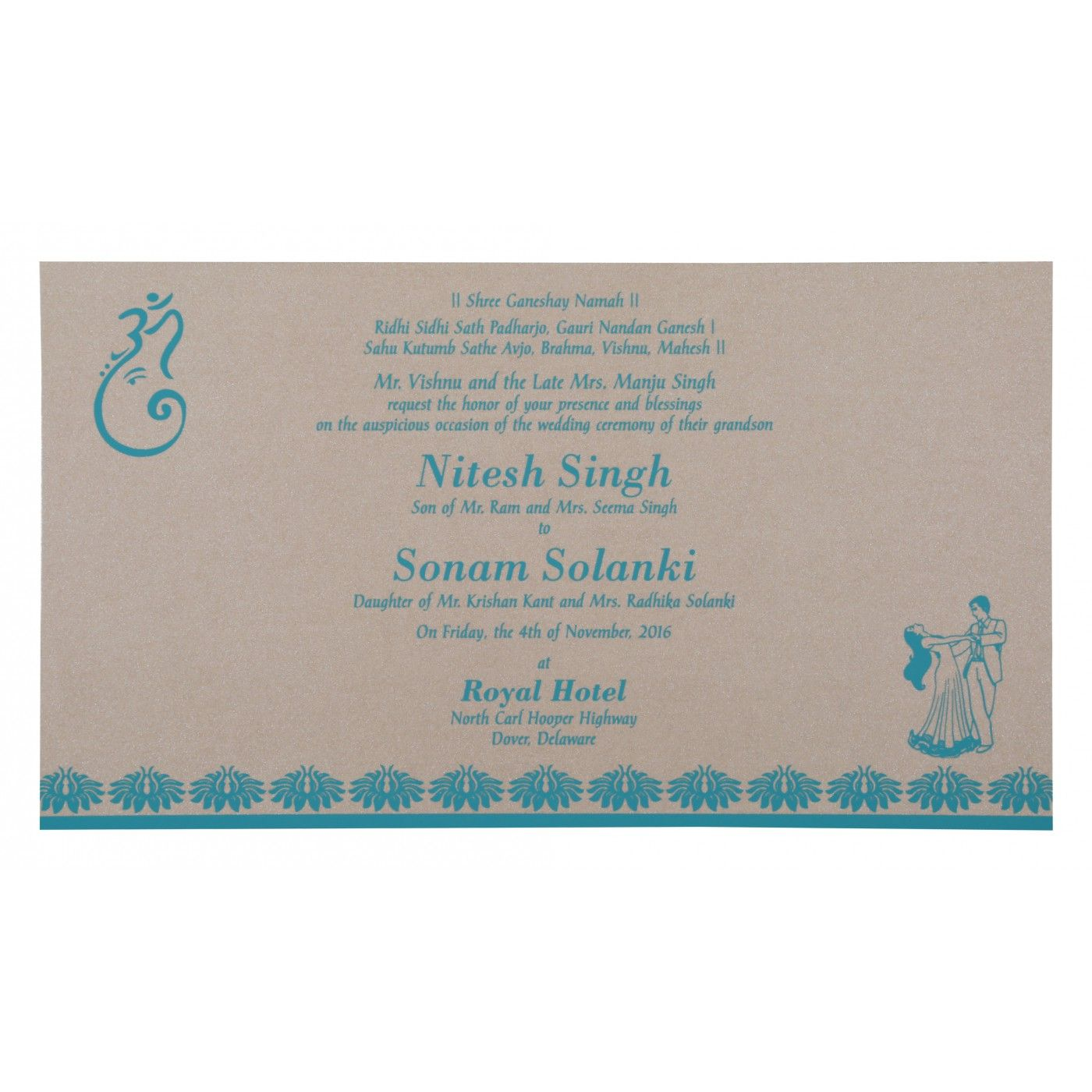 TURQUOISE SHIMMERY DAMASK THEMED - SCREEN PRINTED WEDDING INVITATION : CS-8261E - IndianWeddingCards