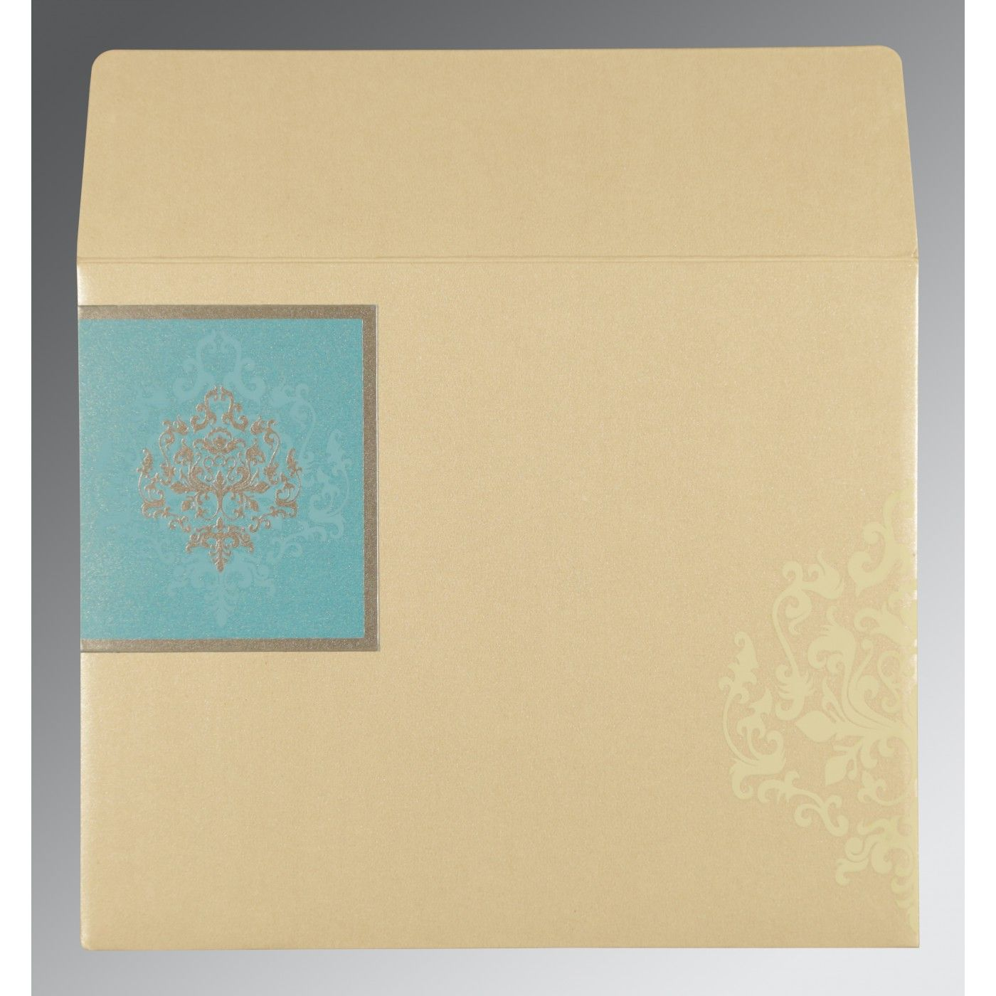 IVORY TURQUOISE SHIMMERY DAMASK THEMED - SCREEN PRINTED WEDDING CARD : CSO-8253E - IndianWeddingCards