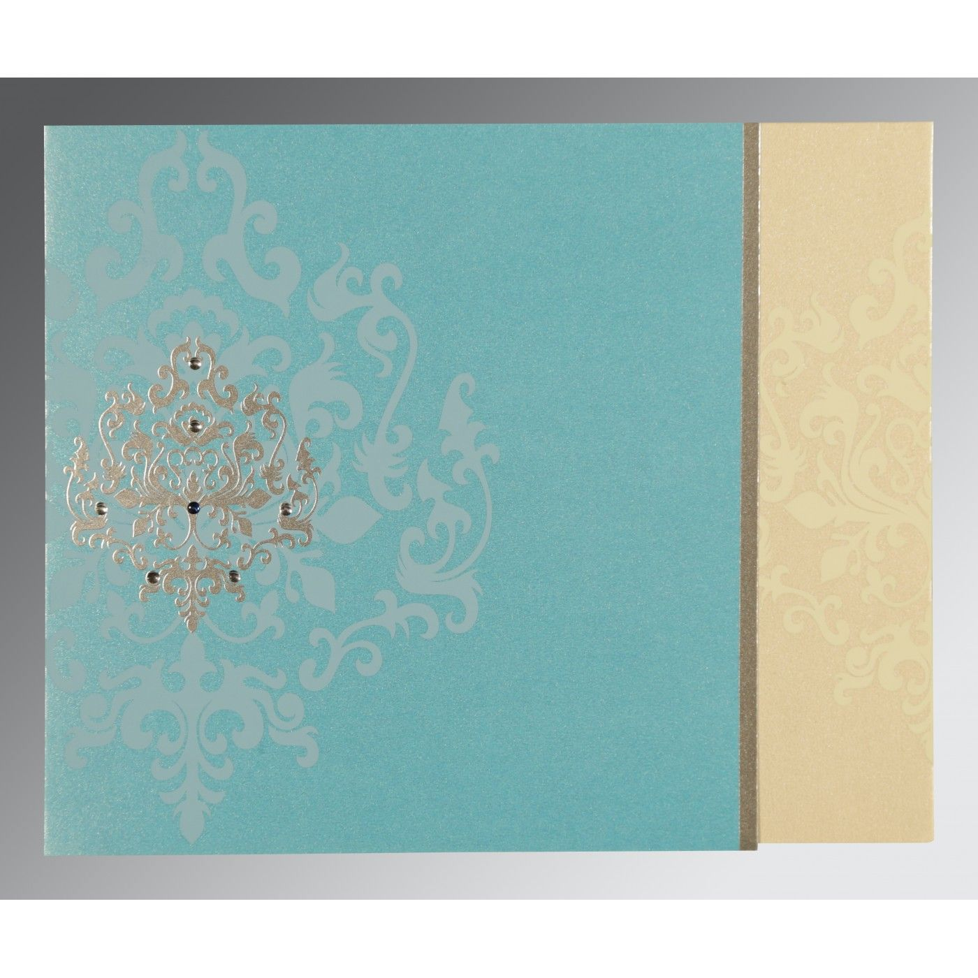 IVORY TURQUOISE SHIMMERY DAMASK THEMED - SCREEN PRINTED WEDDING CARD : CW-8253E - IndianWeddingCards