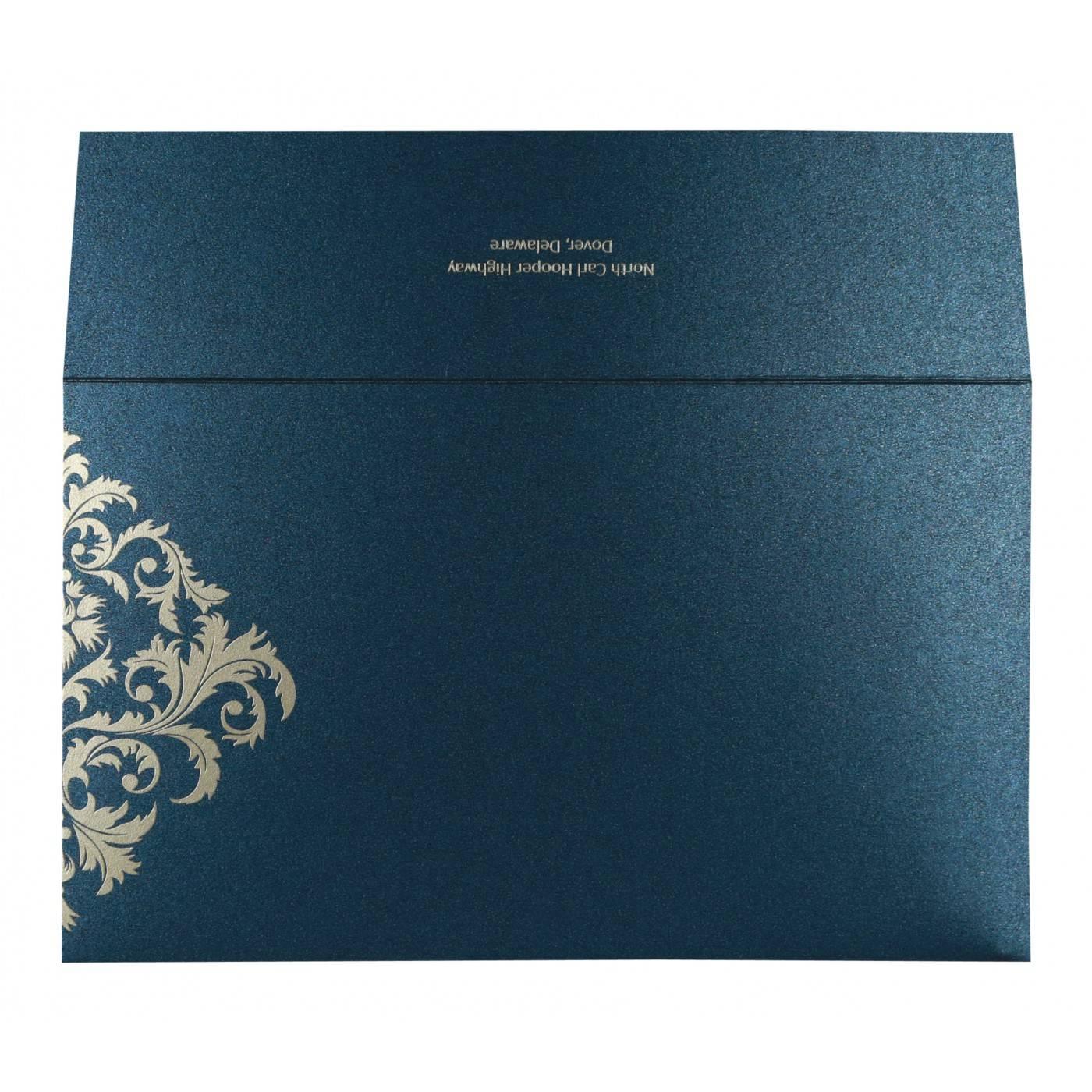 DARK BLUE SHIMMERY DAMASK THEMED - SCREEN PRINTED WEDDING CARD : CW-8257G - IndianWeddingCards