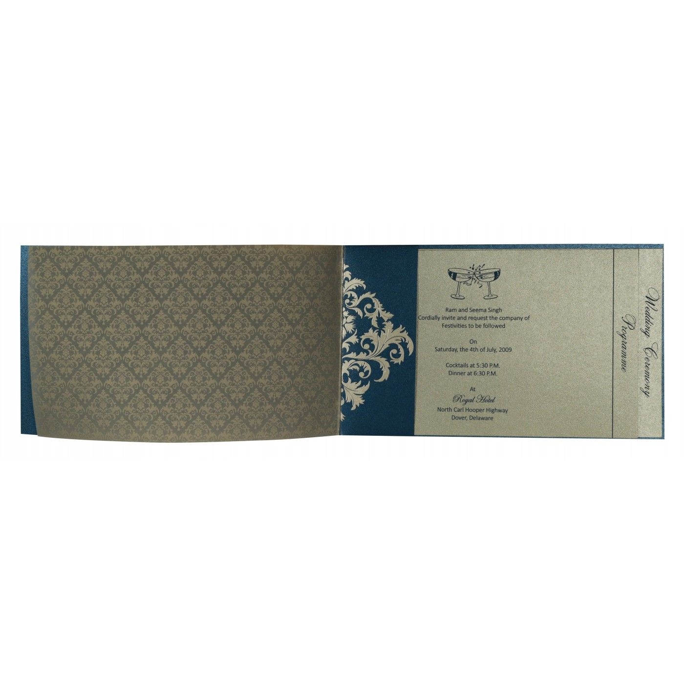 DARK BLUE SHIMMERY DAMASK THEMED - SCREEN PRINTED WEDDING CARD : CW-8257G - IndianWeddingCards