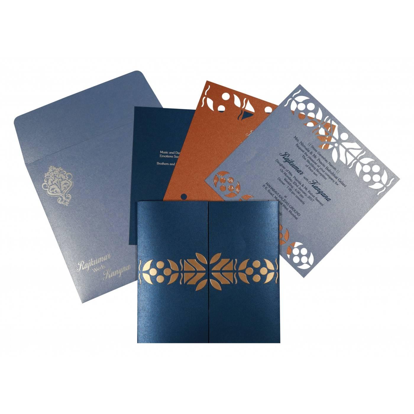 MODERATE BLUE SHIMMERY EMBOSSED WEDDING INVITATION : CG-8260D - IndianWeddingCards
