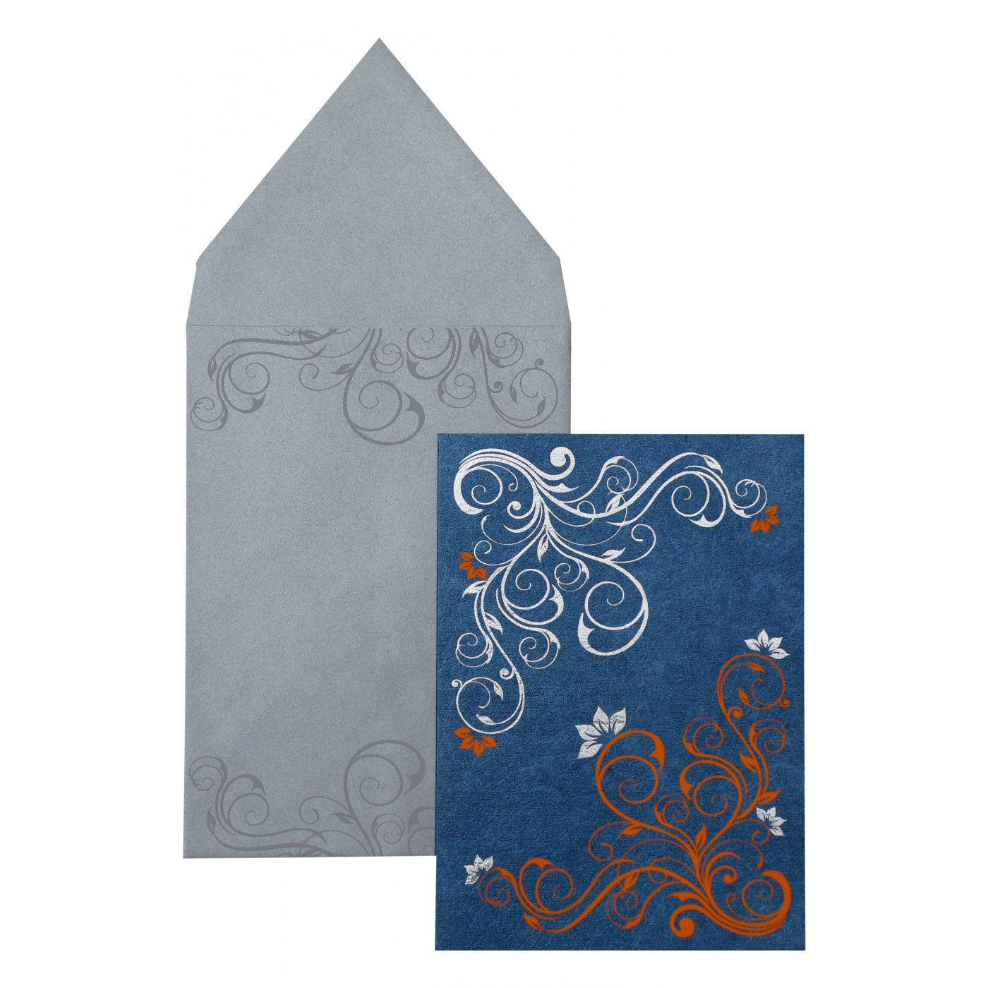 BLUE SHIMMERY FLORAL THEMED - FOIL STAMPED PARTY CARDS : CPY-889 - IndianWeddingCards