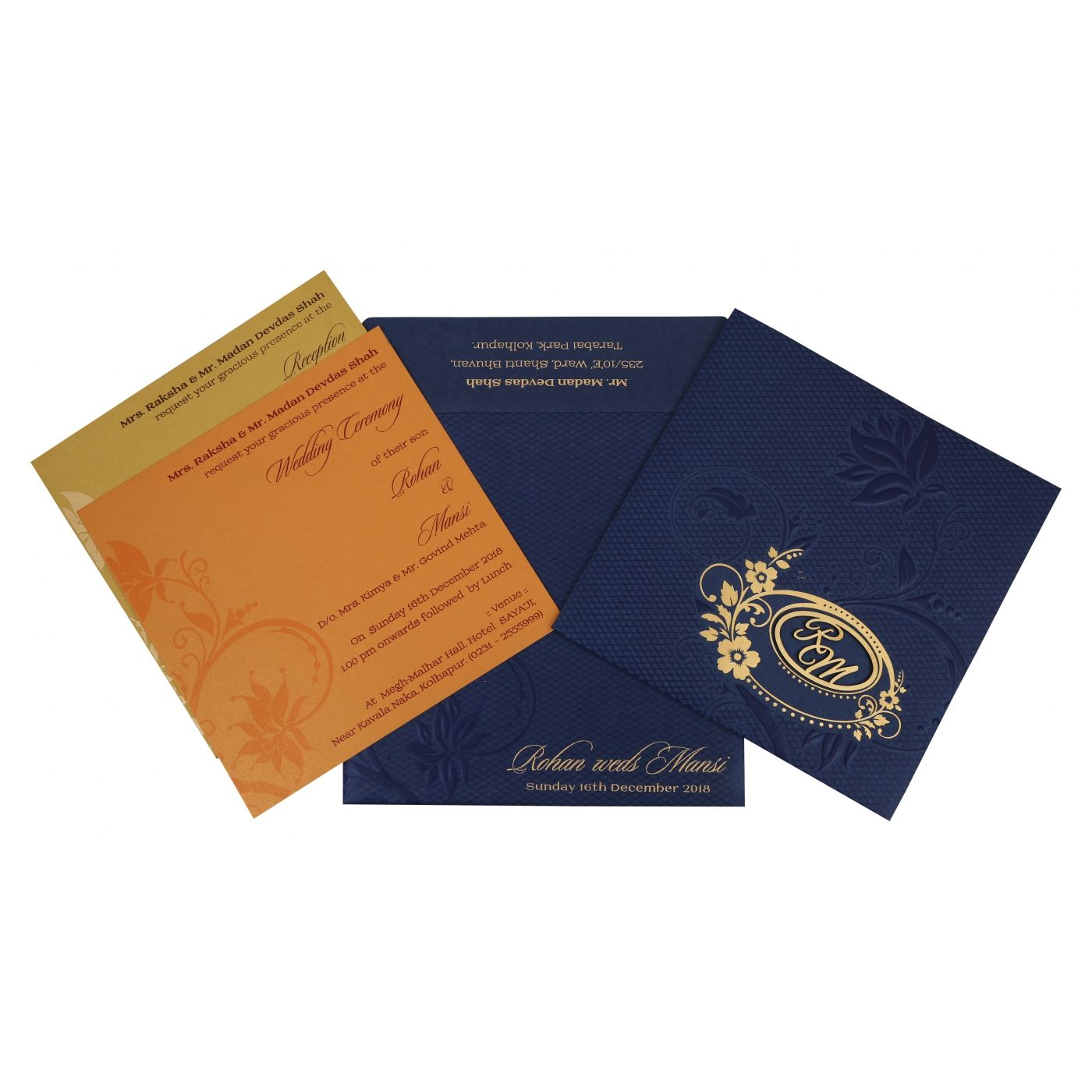 NAVY BLUE SHIMMERY FLORAL THEMED - FOIL STAMPED WEDDING INVITATION : CI-1774 - IndianWeddingCards