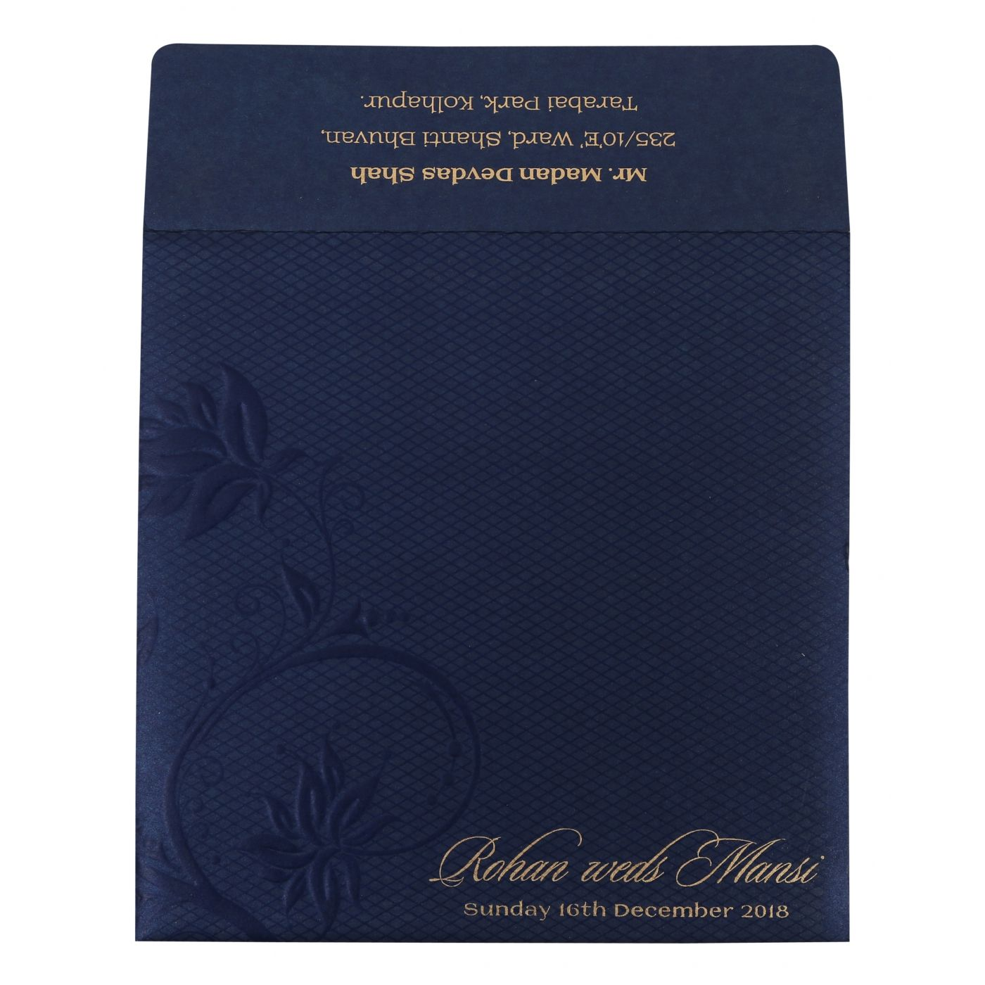 NAVY BLUE SHIMMERY FLORAL THEMED - FOIL STAMPED WEDDING INVITATION : CS-1774 - IndianWeddingCards