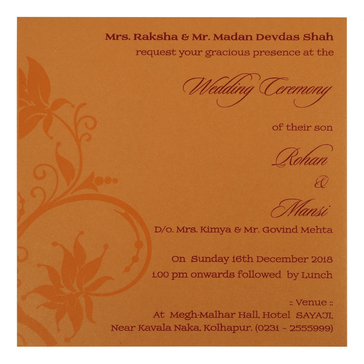 NAVY BLUE SHIMMERY FLORAL THEMED - FOIL STAMPED WEDDING INVITATION : CW-1774 - IndianWeddingCards