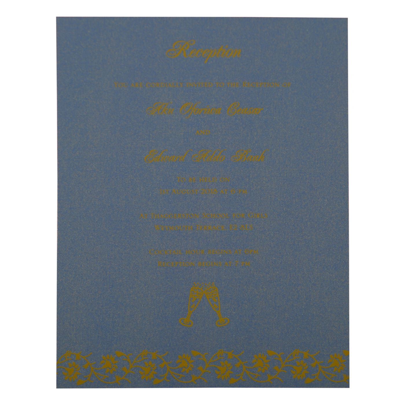 BLUE SHIMMERY FLORAL THEMED - SCREEN PRINTED WEDDING INVITATION : CD-822F - IndianWeddingCards