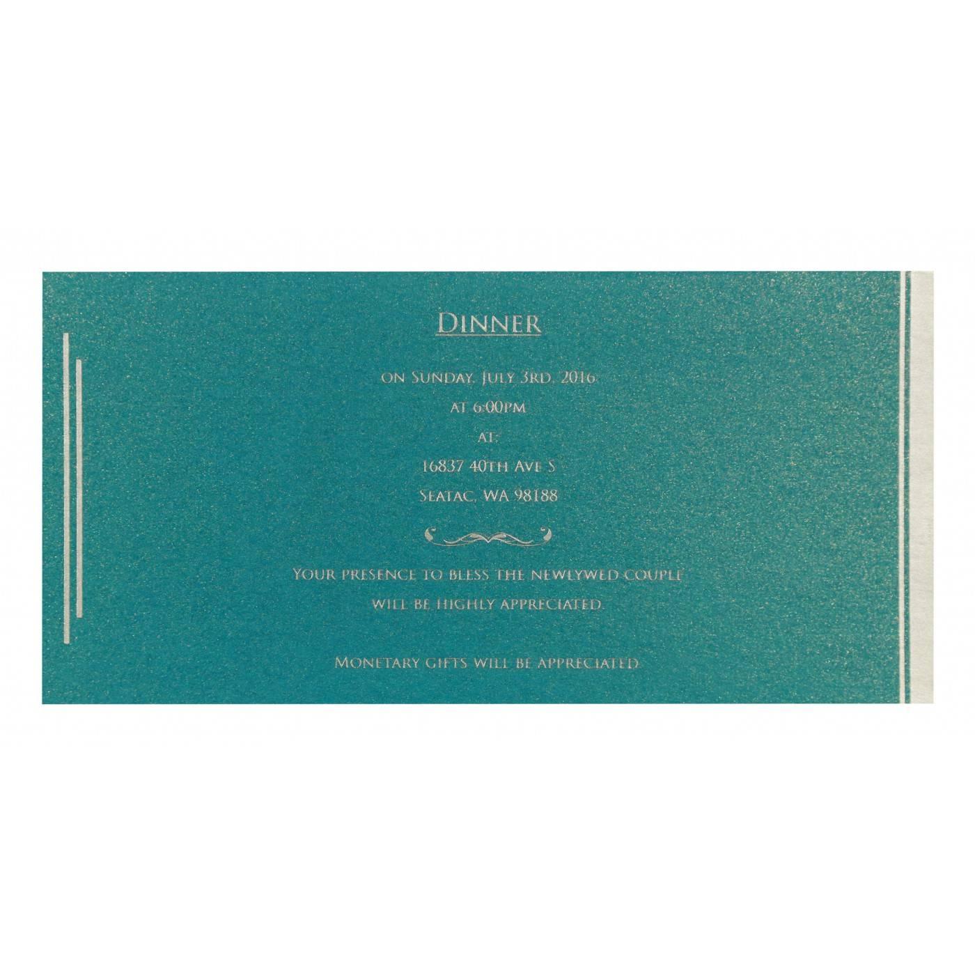 CYAN BLUE SHIMMERY FLORAL THEMED - SCREEN PRINTED WEDDING CARD : CG-8259B - IndianWeddingCards