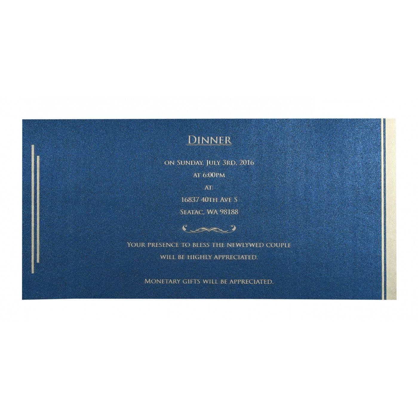 DARK BLUE SHIMMERY FLORAL THEMED - SCREEN PRINTED WEDDING CARD : CG-8259E - IndianWeddingCards