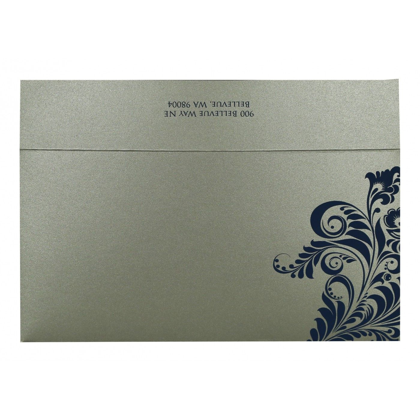 DARK BLUE SHIMMERY FLORAL THEMED - SCREEN PRINTED WEDDING CARD : CW-8259E - IndianWeddingCards