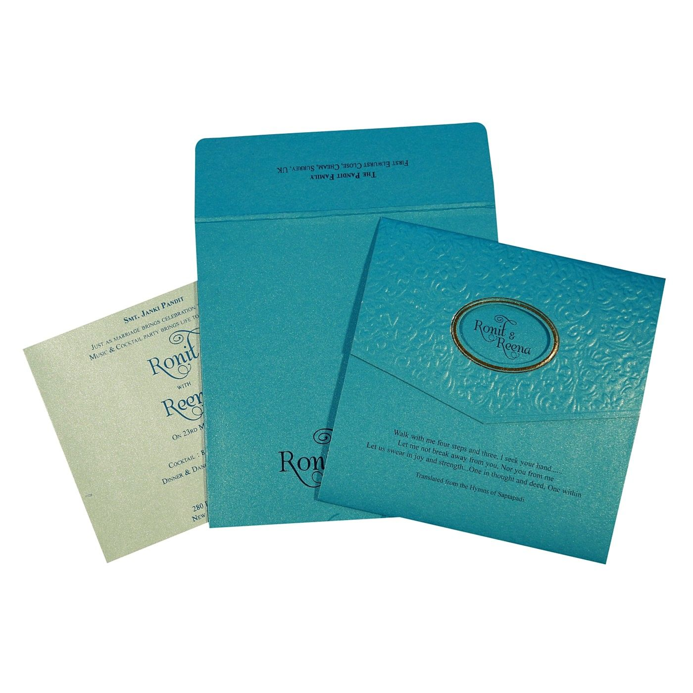 TURQUOISE SHIMMERY FOIL STAMPED WEDDING INVITATION : CG-1737 - IndianWeddingCards