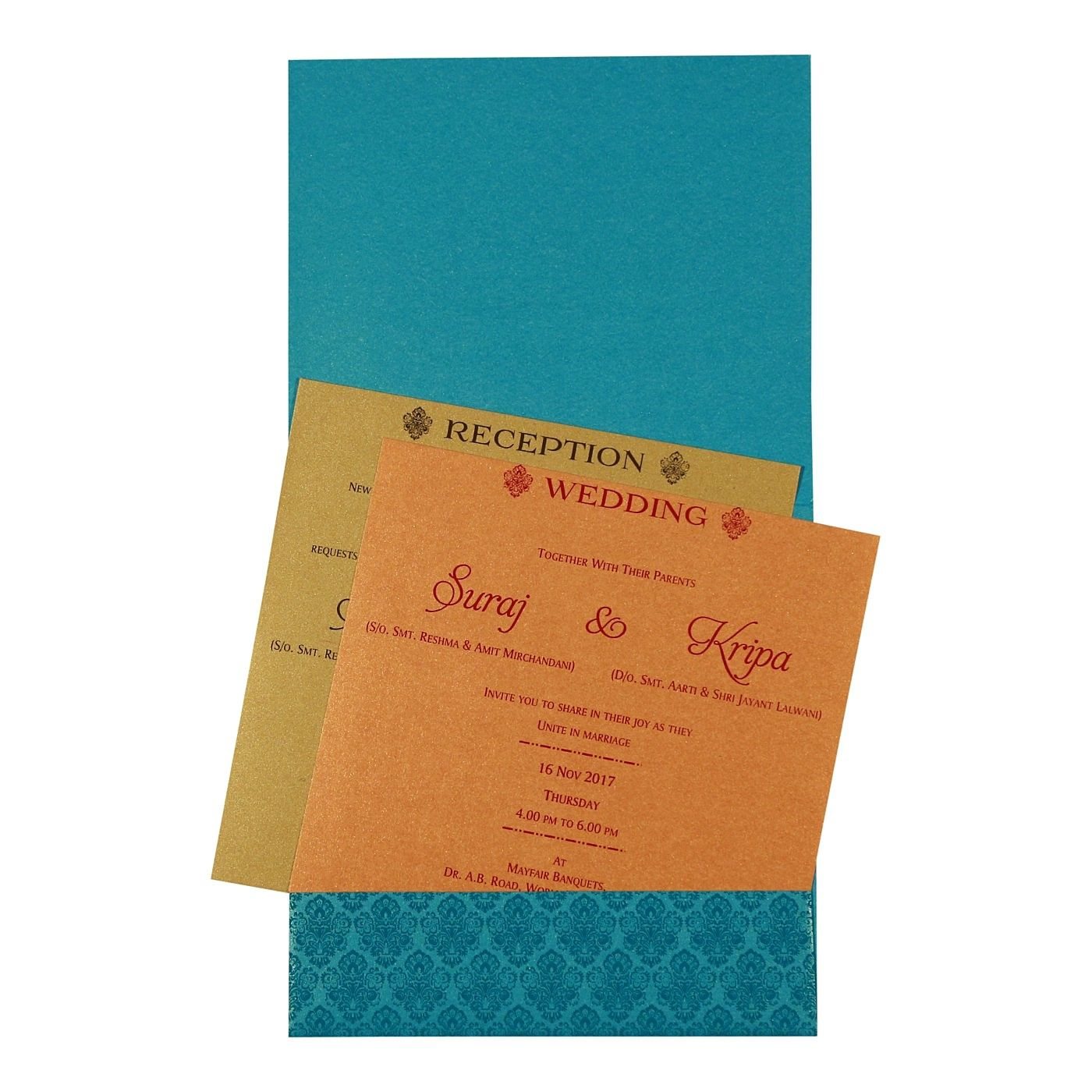TURQUOISE SHIMMERY PAISLEY THEMED - FOIL STAMPED WEDDING INVITATION : CW-1729 - IndianWeddingCards