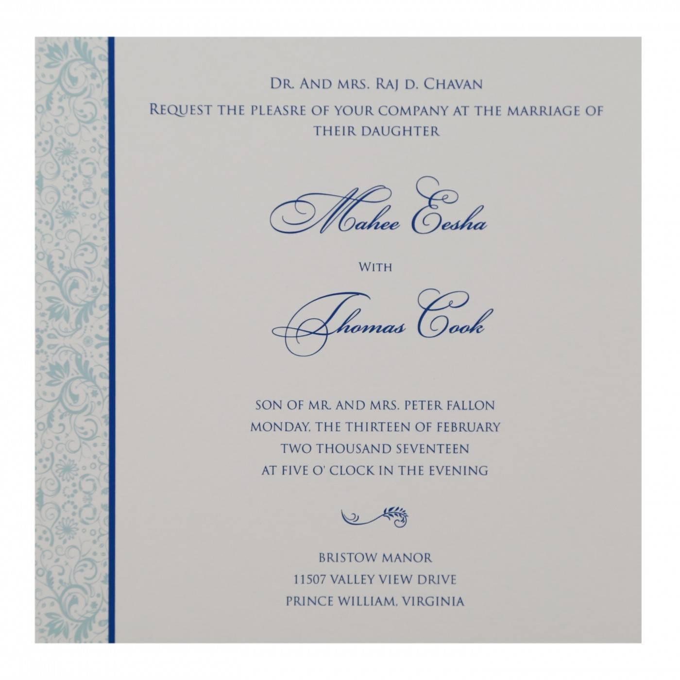 SKY BLUE SHIMMERY PAISLEY THEMED - SCREEN PRINTED WEDDING CARD : CG-8264H - IndianWeddingCards