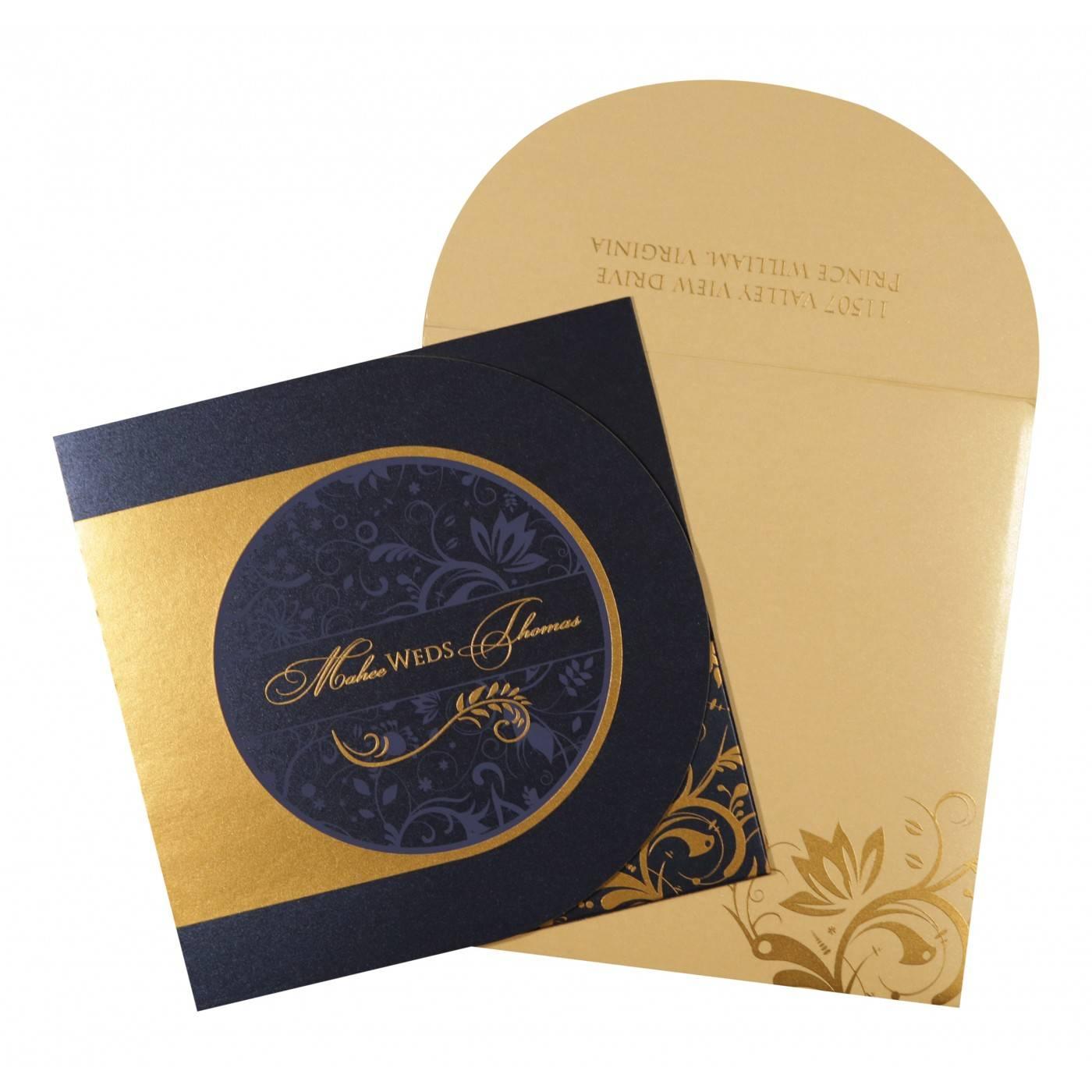 DARK BLUE SHIMMERY PAISLEY THEMED - SCREEN PRINTED WEDDING CARD : CRU-8264F - IndianWeddingCards