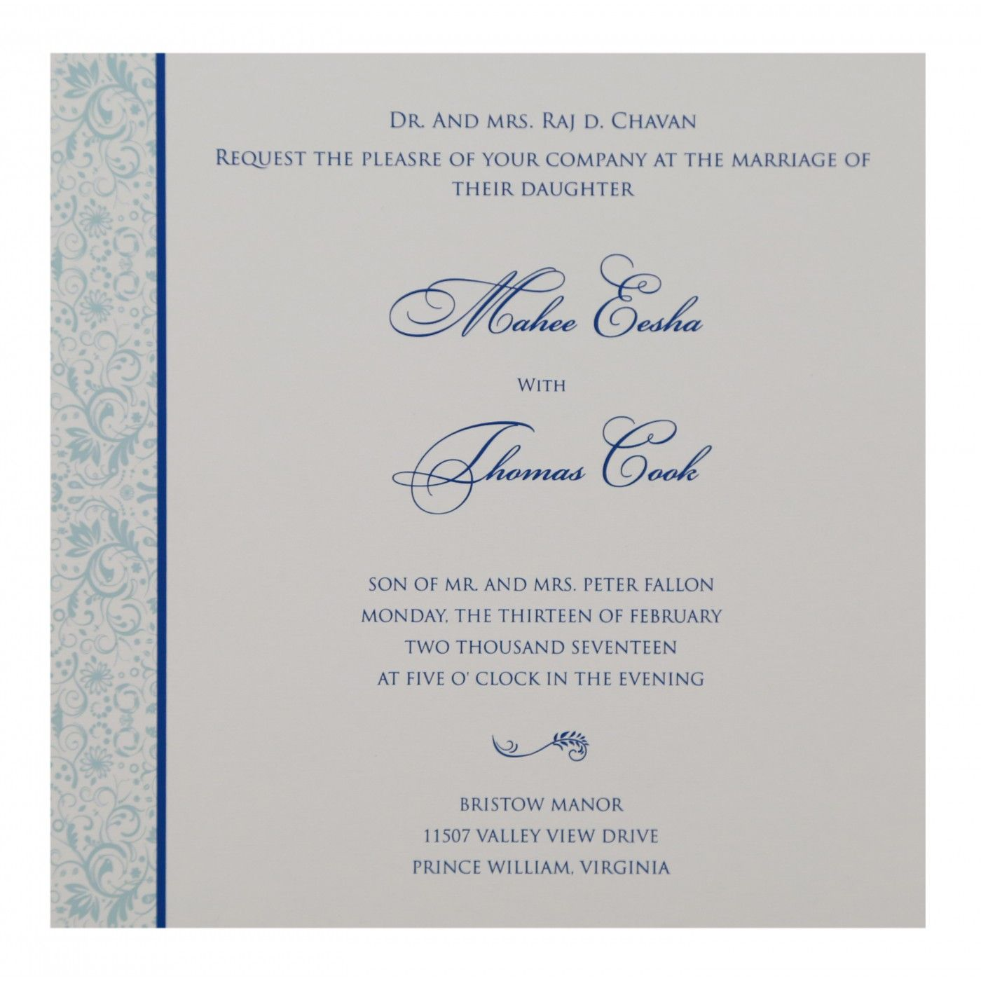 SKY BLUE SHIMMERY PAISLEY THEMED - SCREEN PRINTED WEDDING CARD : CS-8264H - IndianWeddingCards