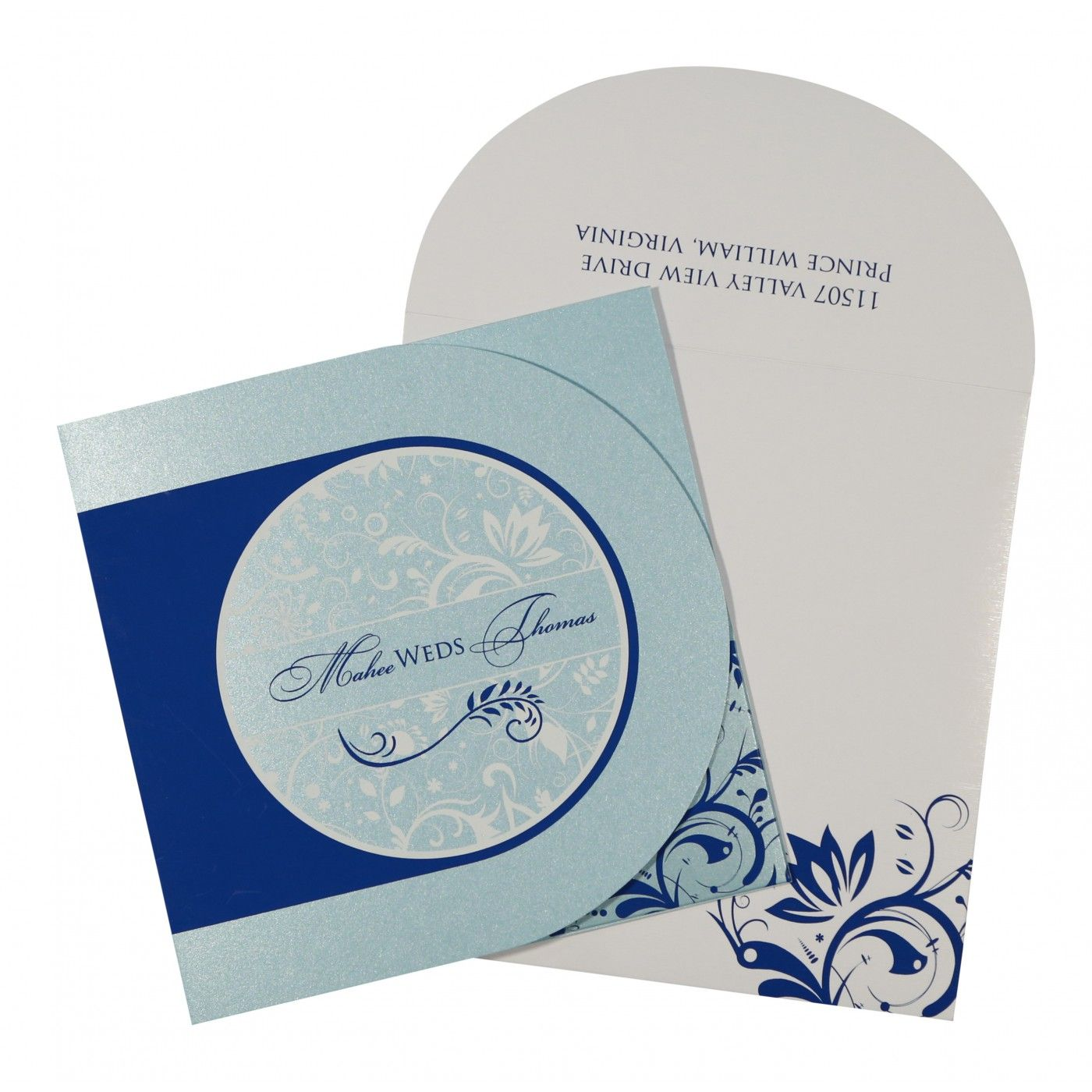 SKY BLUE SHIMMERY PAISLEY THEMED - SCREEN PRINTED WEDDING CARD : CSO-8264H - IndianWeddingCards