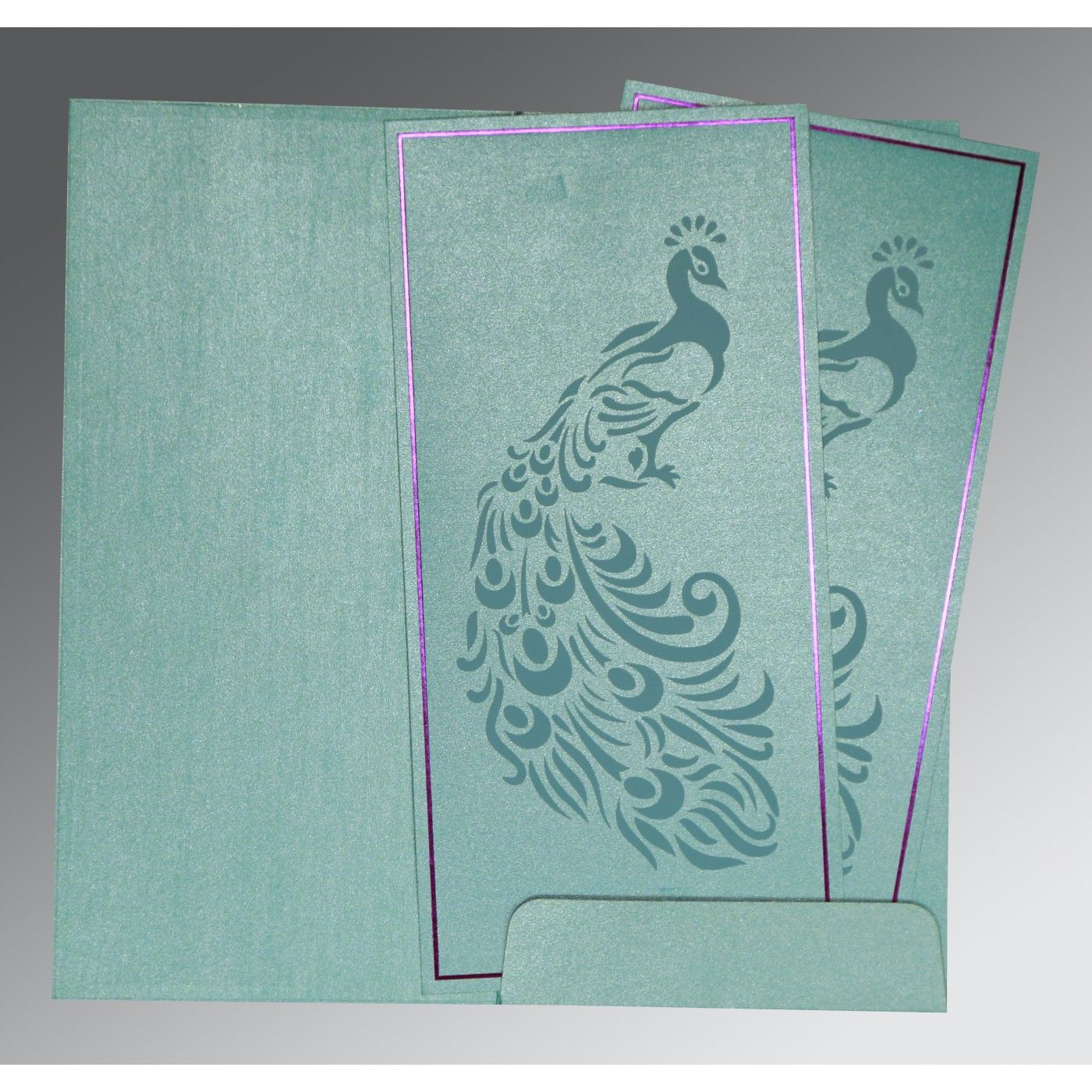 MOON STONE SHIMMERY PEACOCK THEMED - LASER CUT WEDDING INVITATION : CG-8255E - IndianWeddingCards