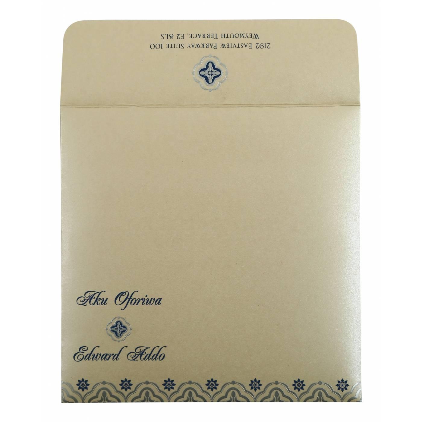 BLUE SHIMMERY SCREEN PRINTED WEDDING INVITATION : CI-805D - IndianWeddingCards