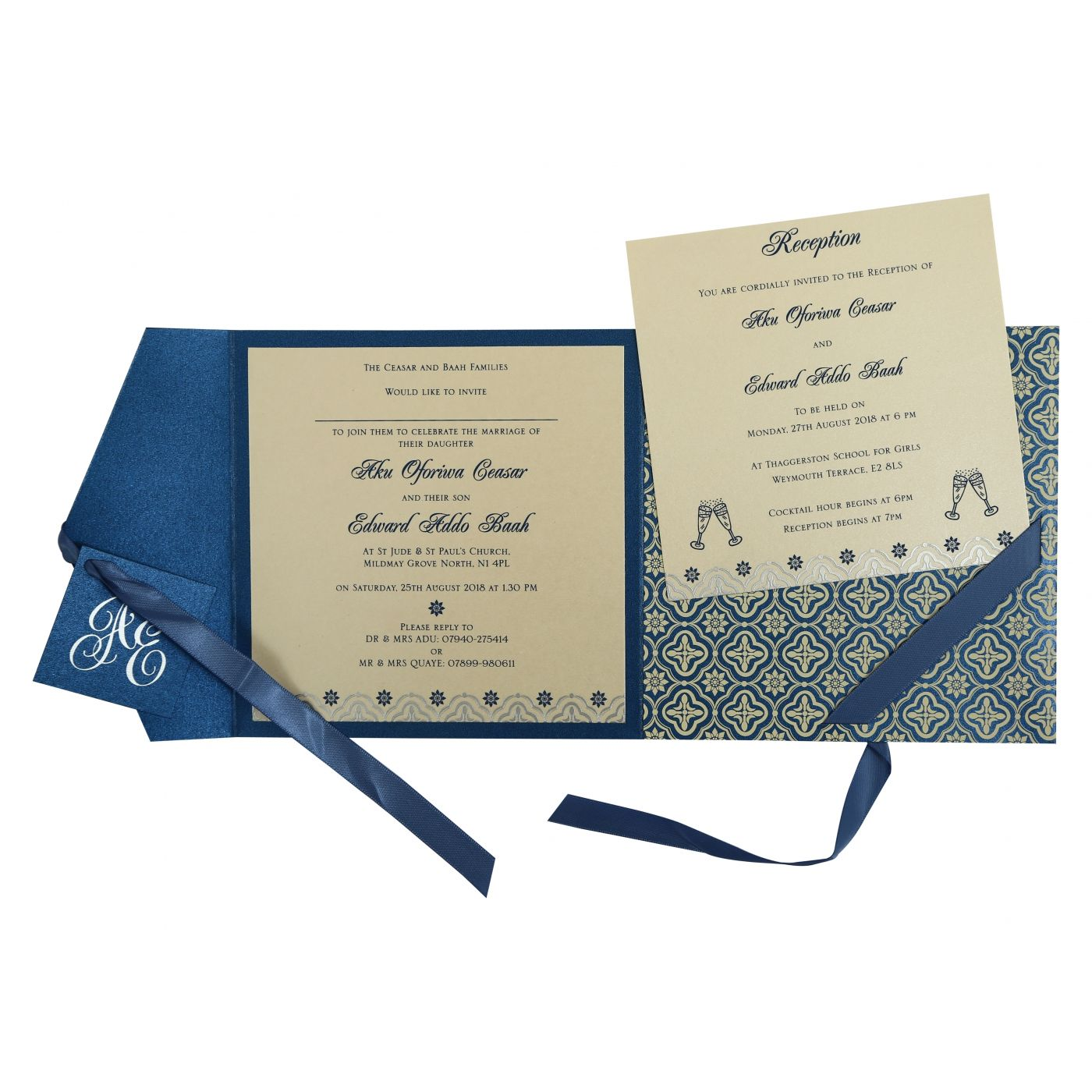 BLUE SHIMMERY SCREEN PRINTED WEDDING INVITATION : CS-805D - IndianWeddingCards