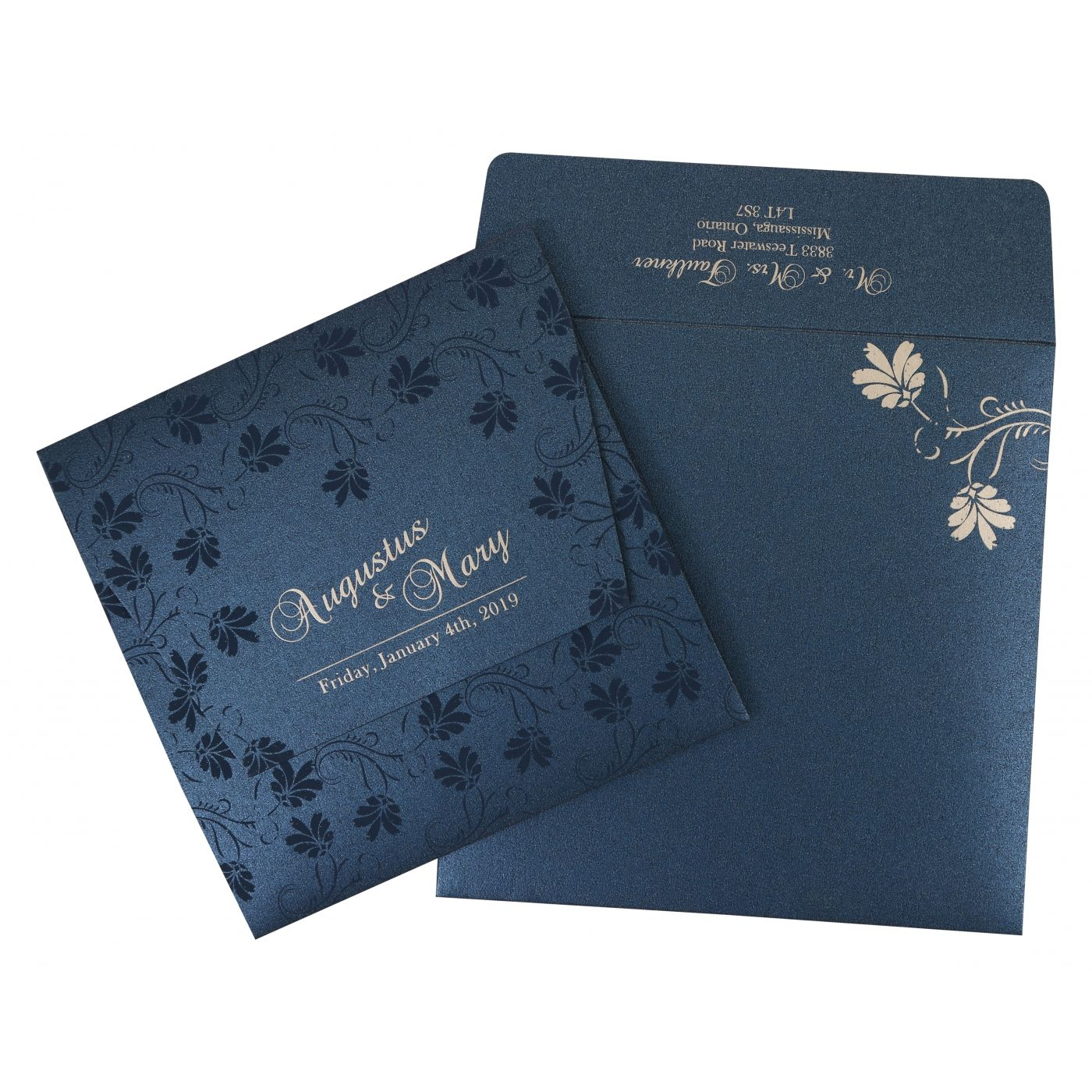 MIDNIGHT BLUE SHIMMERY SCREEN PRINTED WEDDING INVITATION : CI-803D - IndianWeddingCards