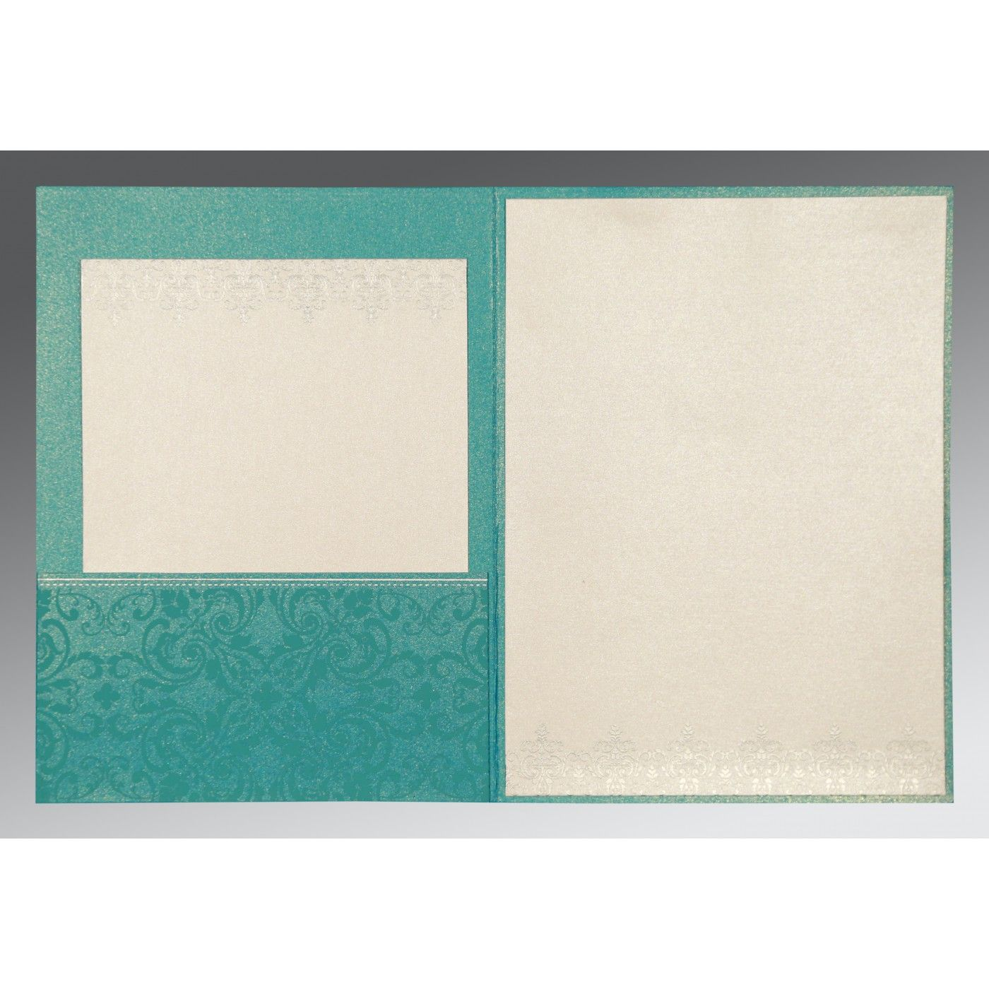 TEAL BLUE SHIMMERY SCREEN PRINTED WEDDING CARD : CIN-8244C - IndianWeddingCards