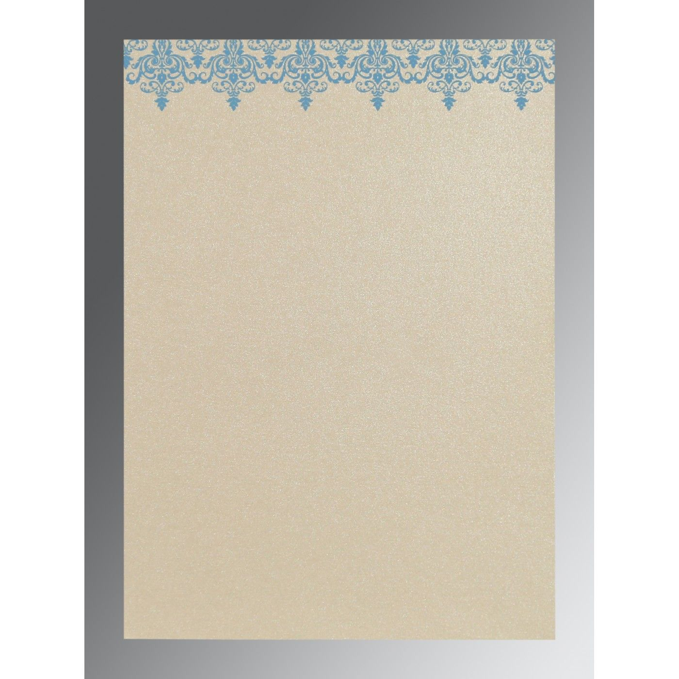 TURQUOISE SHIMMERY SCREEN PRINTED WEDDING CARD : CIN-8244F - IndianWeddingCards