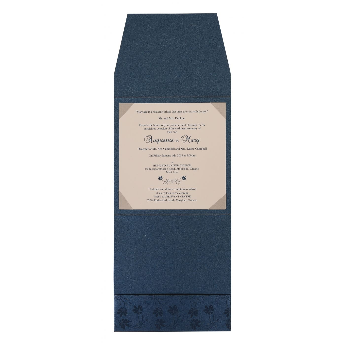 MIDNIGHT BLUE SHIMMERY SCREEN PRINTED WEDDING INVITATION : CS-803D - IndianWeddingCards