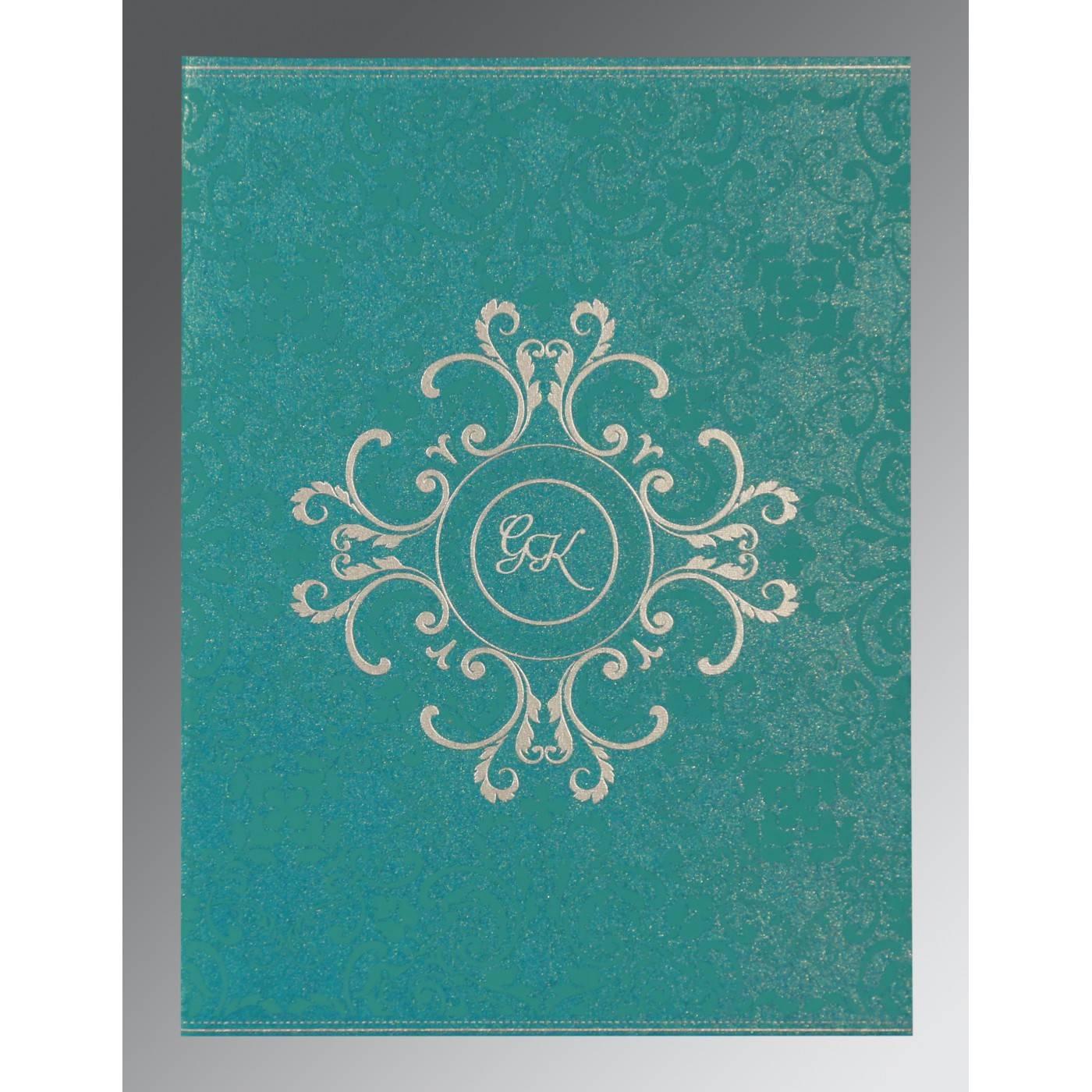 TEAL BLUE SHIMMERY SCREEN PRINTED WEDDING CARD : CS-8244C - IndianWeddingCards