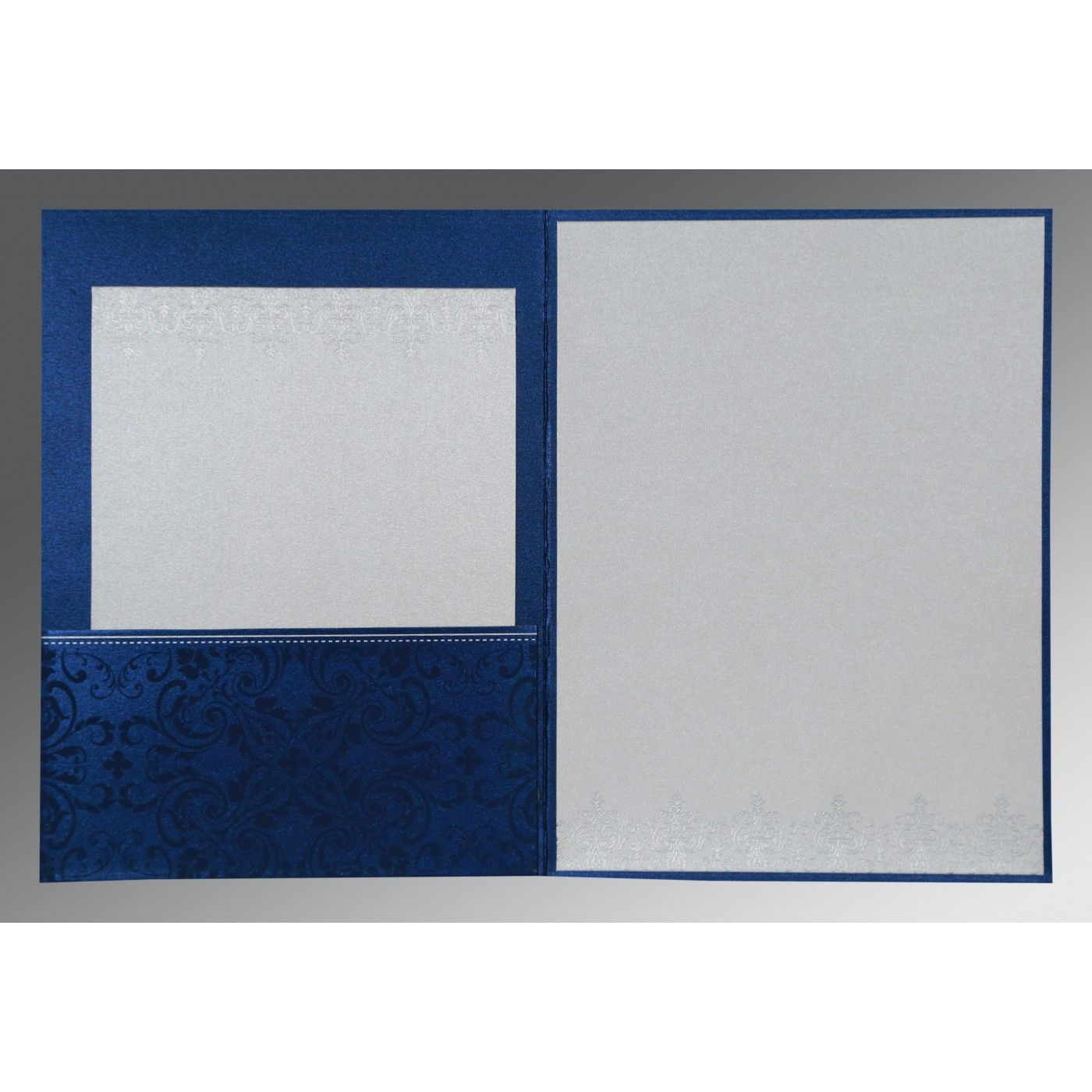 COBALT BLUE SHIMMERY SCREEN PRINTED WEDDING CARD : CS-8244K - IndianWeddingCards