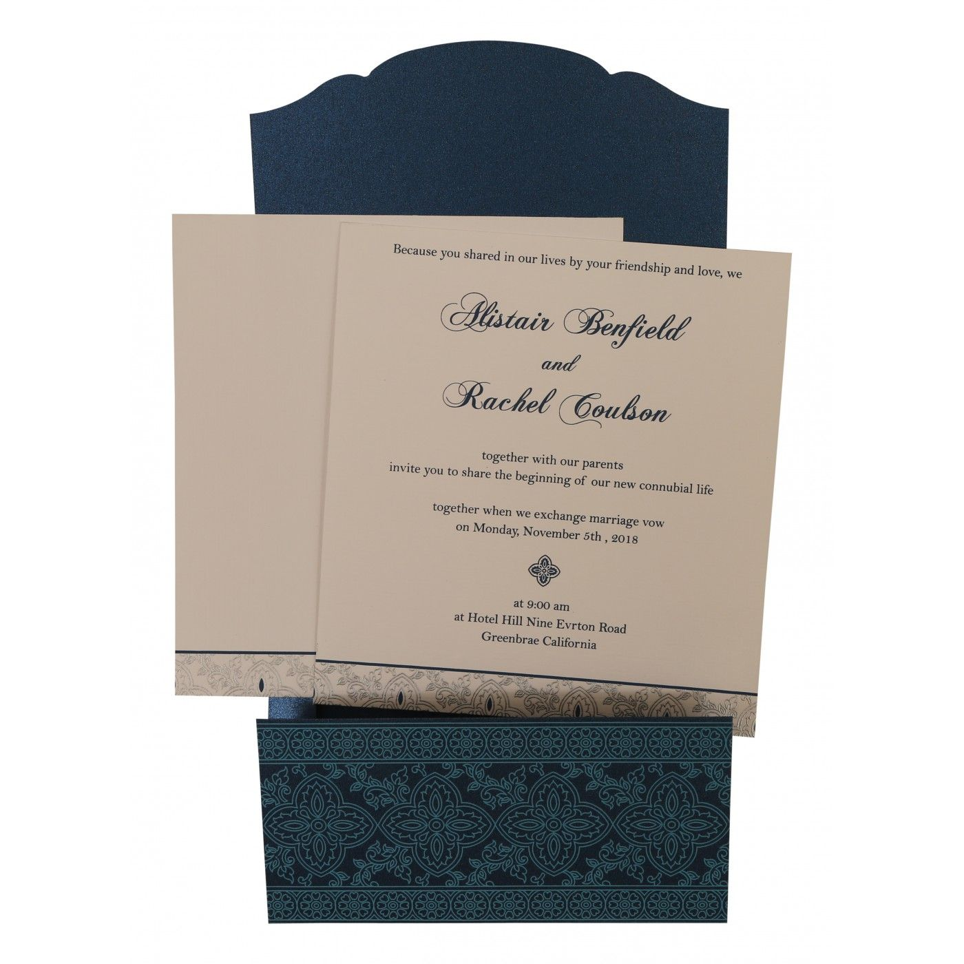 TEAL BLUE SHIMMERY SCREEN PRINTED WEDDING INVITATION : CSO-800C - IndianWeddingCards