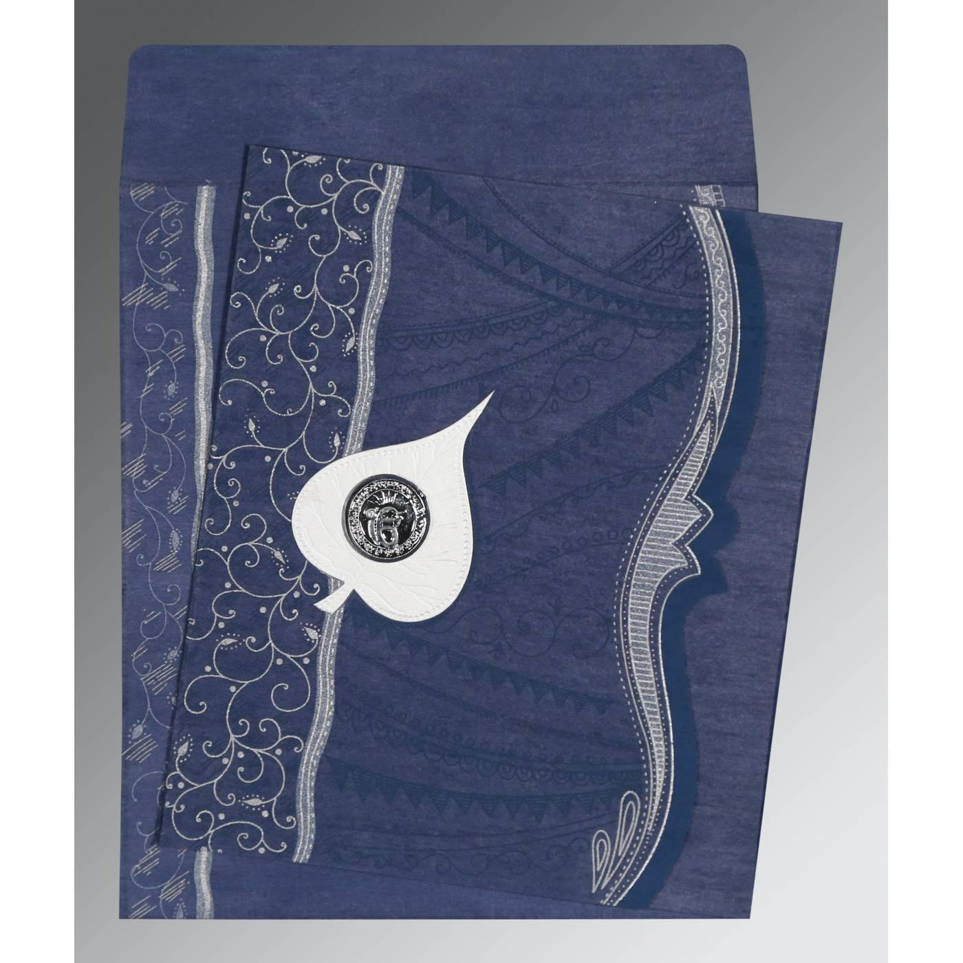 INDIGO BLUE SHIMMERY EMBOSSED WEDDING CARD : CRU-8210H - IndianWeddingCards