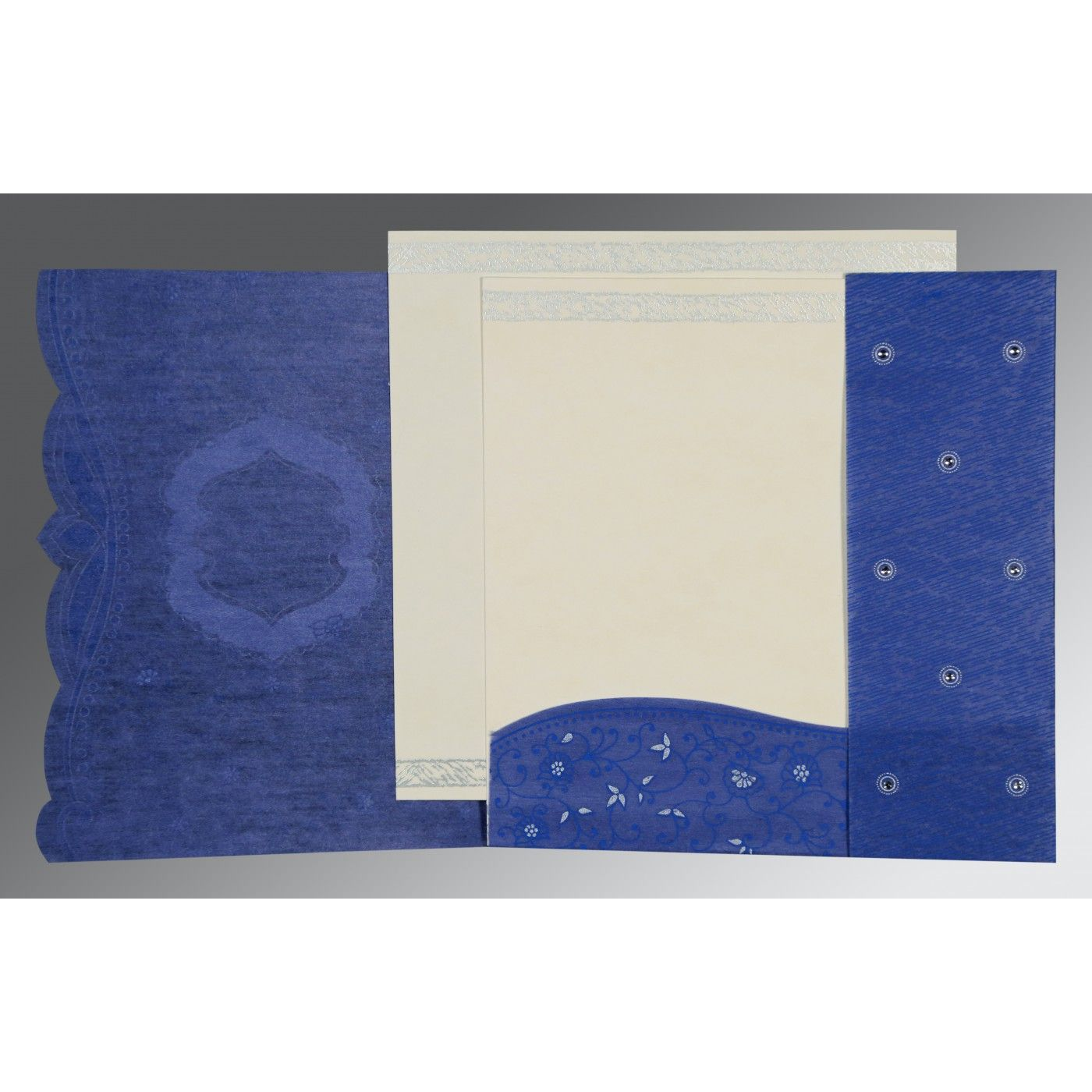 COBALT BLUE SHIMMERY FLORAL THEMED - EMBOSSED WEDDING CARD : CIN-8209J - IndianWeddingCards