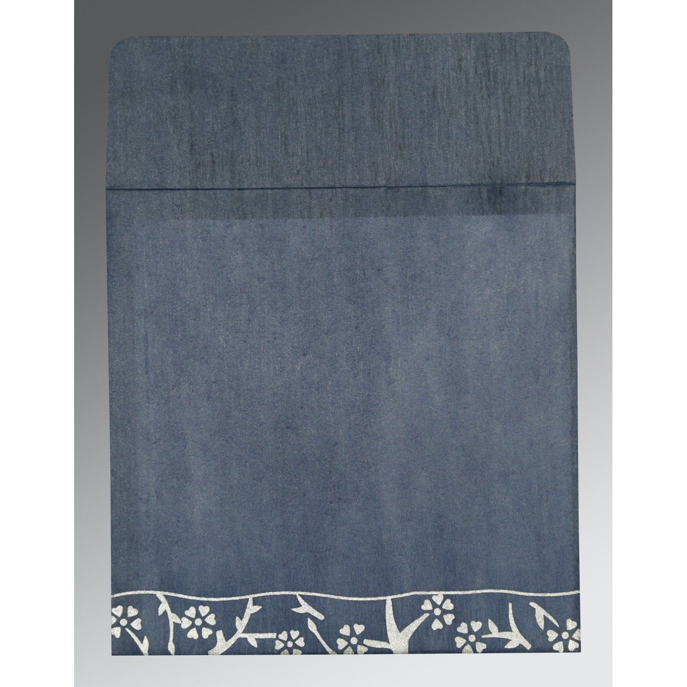 SMOKE BLUE WOOLY FLORAL THEMED - SCREEN PRINTED WEDDING INVITATION : CS-8216D - IndianWeddingCards