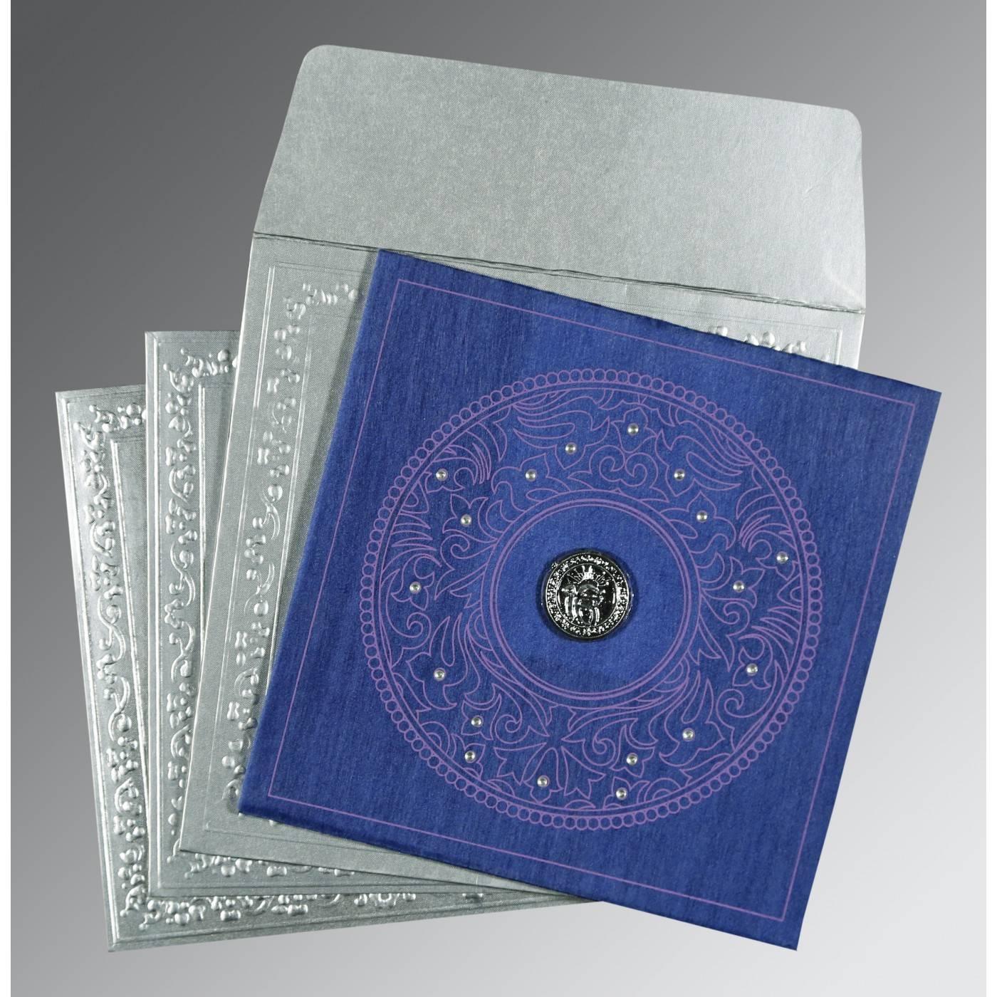 BLUE WOOLY SCREEN PRINTED WEDDING CARD : RU-8214Q - 123WeddingCards