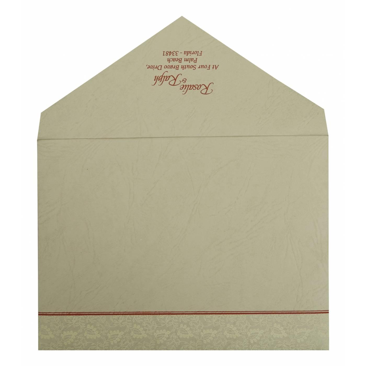 BRICK RED MATTE PAISLEY THEMED - SCREEN PRINTED WEDDING INVITATION : CD-811B - IndianWeddingCards
