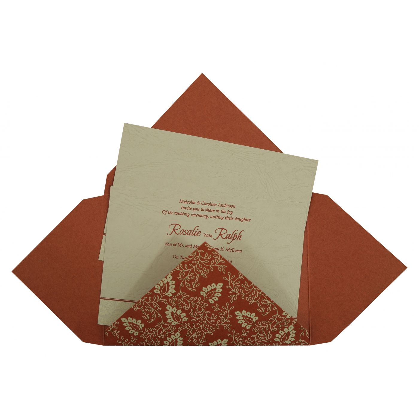 BRICK RED MATTE PAISLEY THEMED - SCREEN PRINTED WEDDING INVITATION : CI-811B - IndianWeddingCards