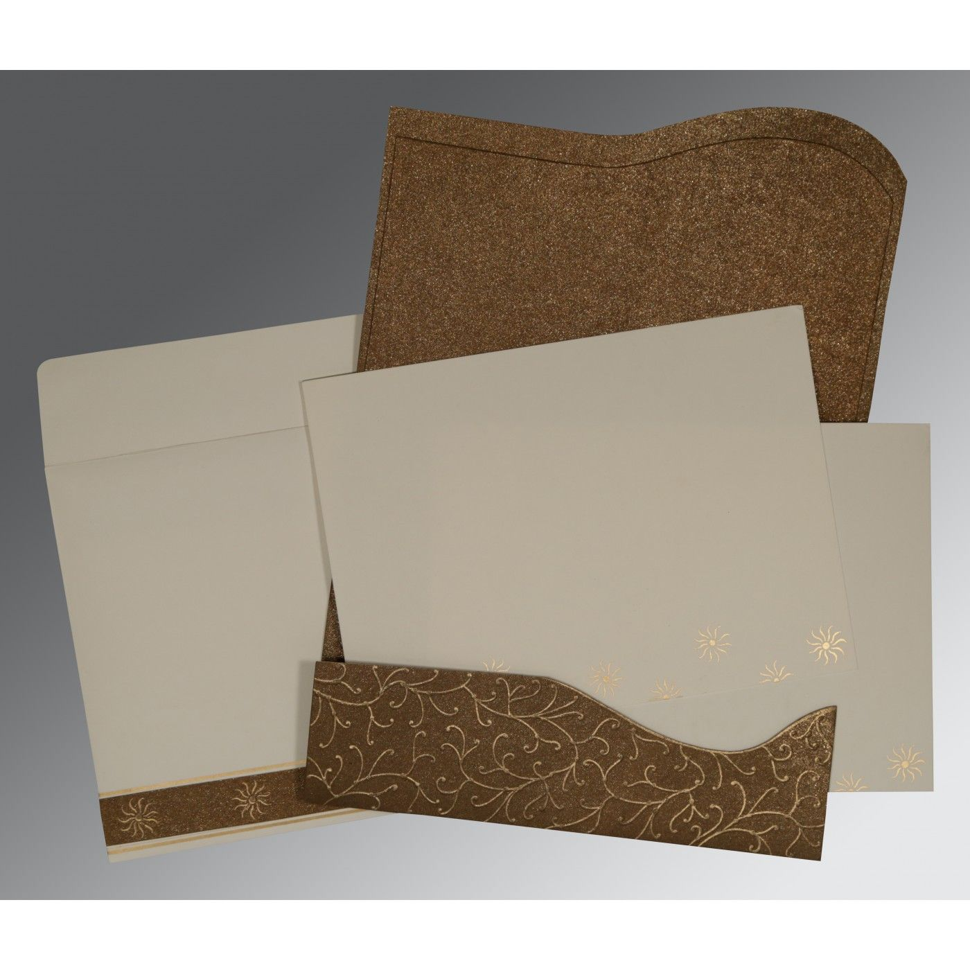 BROWN HANDMADE SHIMMER EMBOSSED WEDDING CARD : CI-1405 - IndianWeddingCards