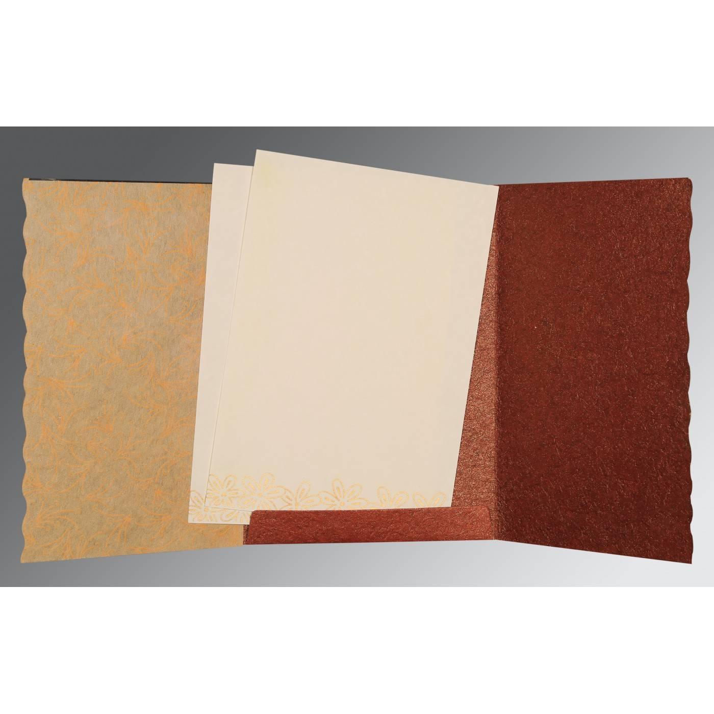 DESERT SAND BROWN HANDMADE SHIMMER FLORAL THEMED - SCREEN PRINTED WEDDING CARD : CG-1439 - IndianWeddingCards