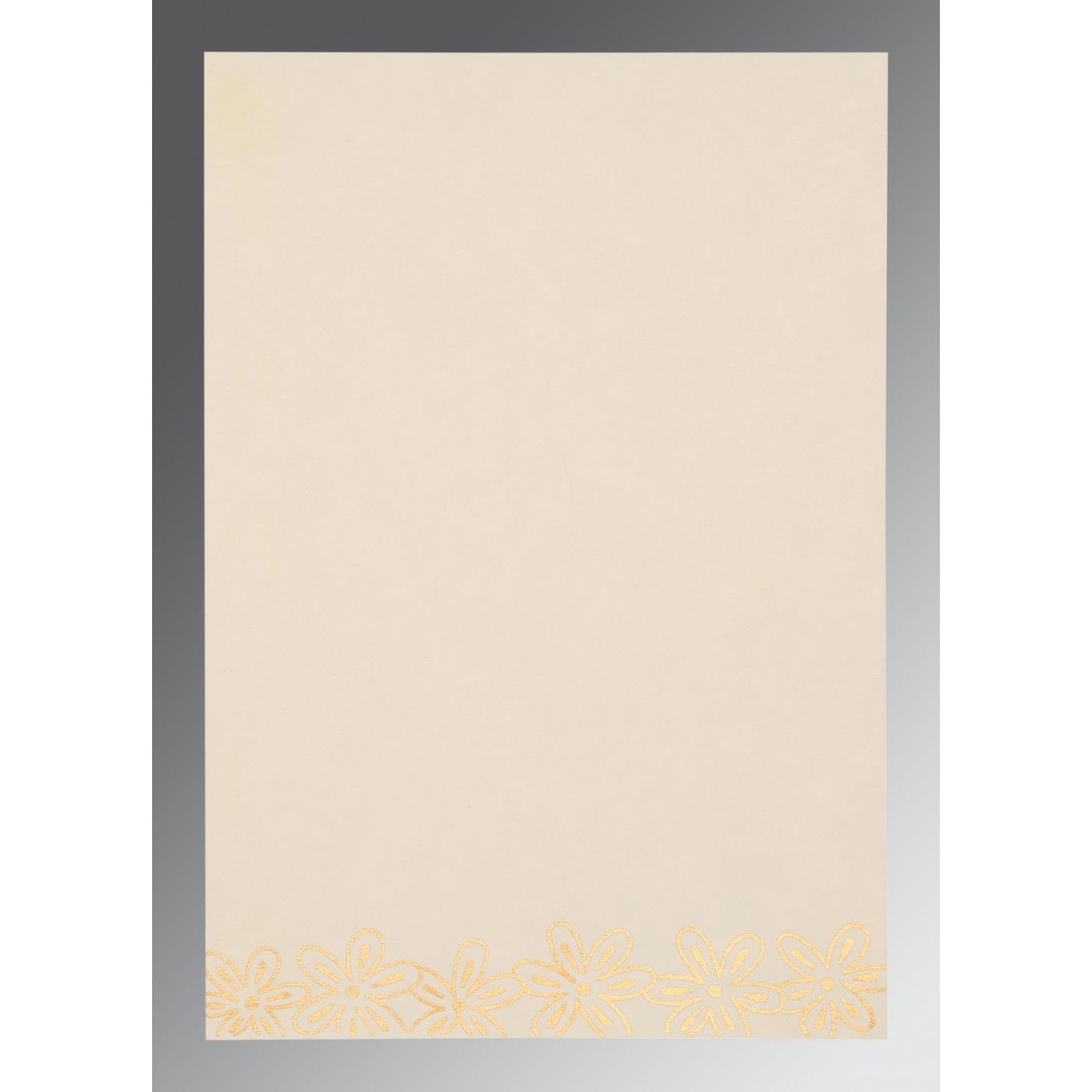 DESERT SAND BROWN HANDMADE SHIMMER FLORAL THEMED - SCREEN PRINTED WEDDING CARD : CIN-1439 - IndianWeddingCards