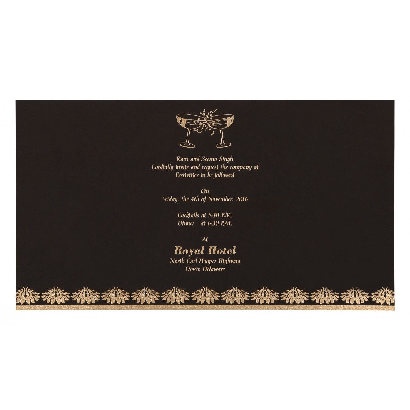 DARK GREY MATTE DAMASK THEMED - SCREEN PRINTED WEDDING INVITATION : CS-8261G - IndianWeddingCards