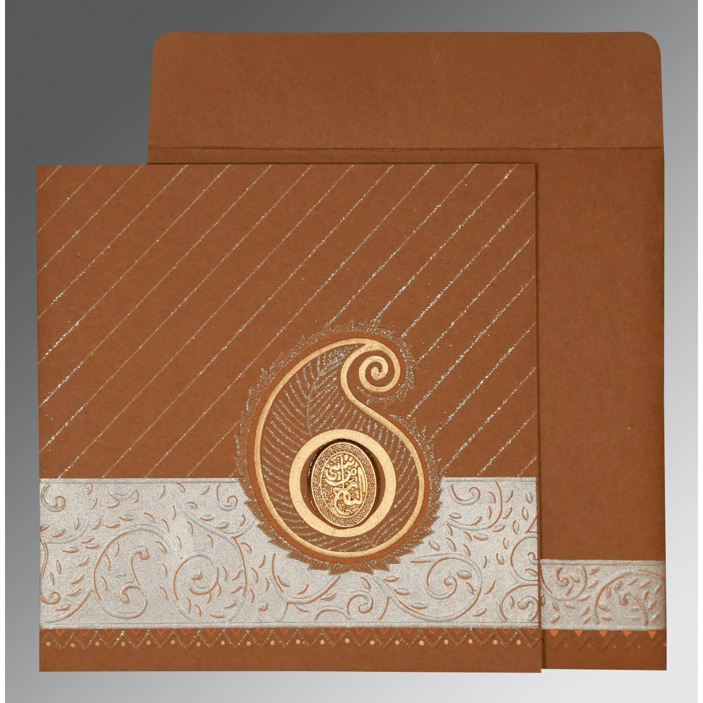 DARK ORANGE MATTE EMBOSSED WEDDING CARD : CI-1178 - IndianWeddingCards