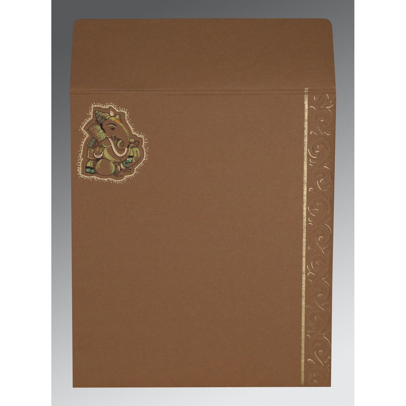 BROWN RED MATTE EMBOSSED WEDDING CARD : CIN-2145 - IndianWeddingCards