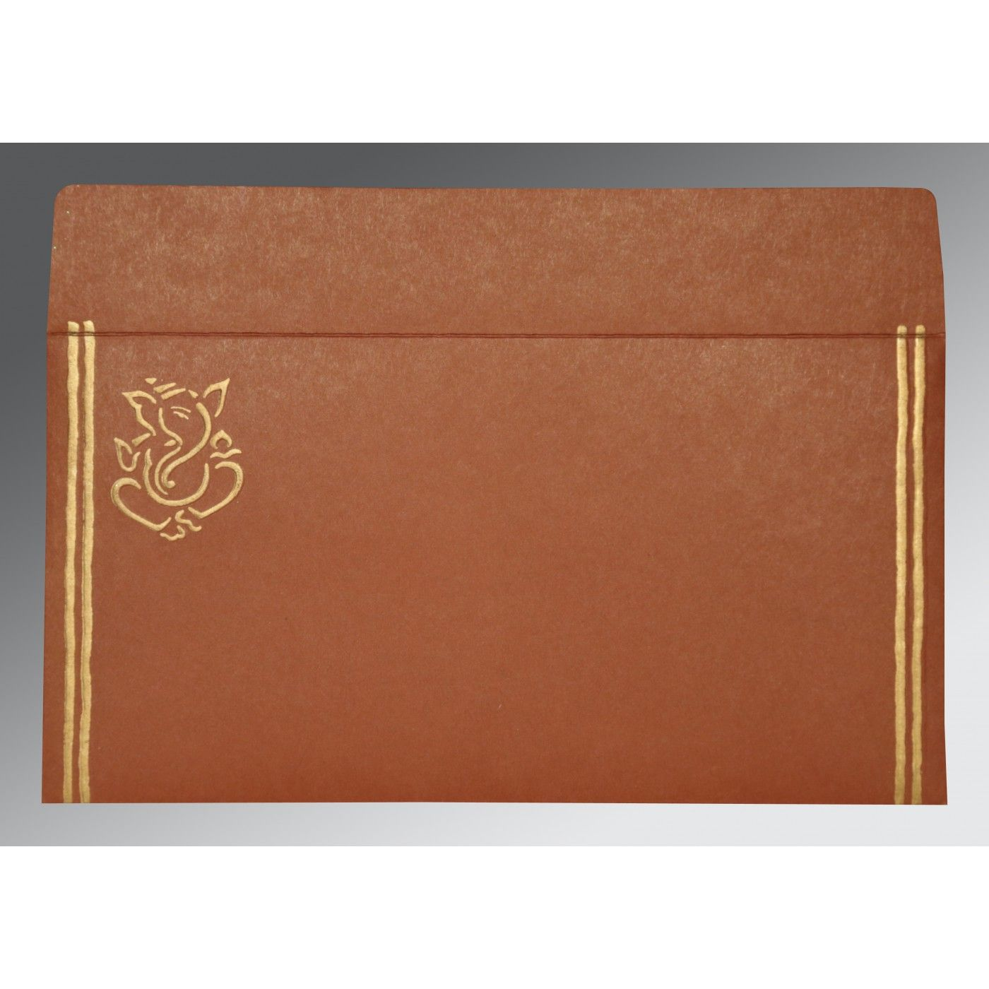 MEDIUM BROWN MATTE EMBOSSED WEDDING CARD : CIN-2182 - IndianWeddingCards