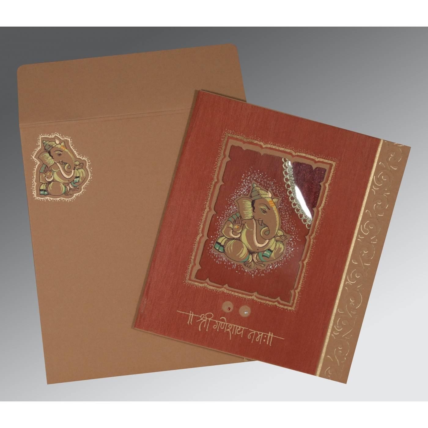 BROWN RED MATTE EMBOSSED WEDDING CARD : CW-2145 - IndianWeddingCards